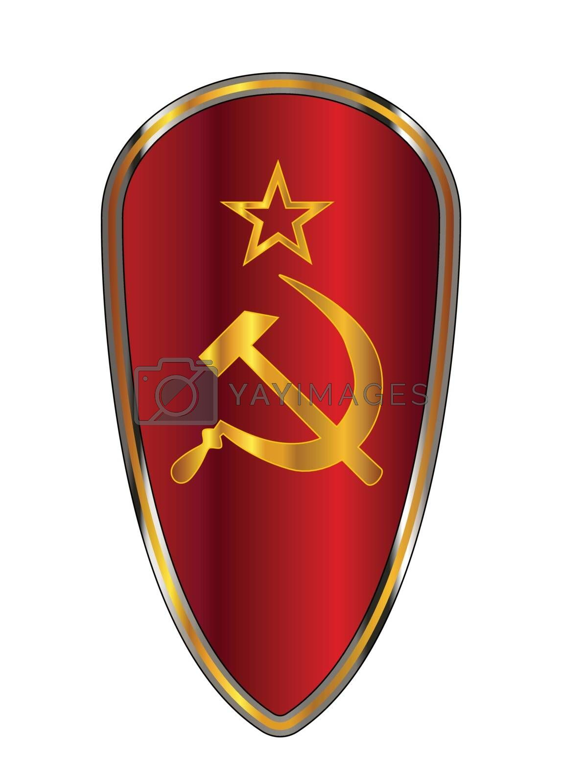 The traditional knights shield associated with a crusader with the hammer and sickle emblem of the Soviet Union