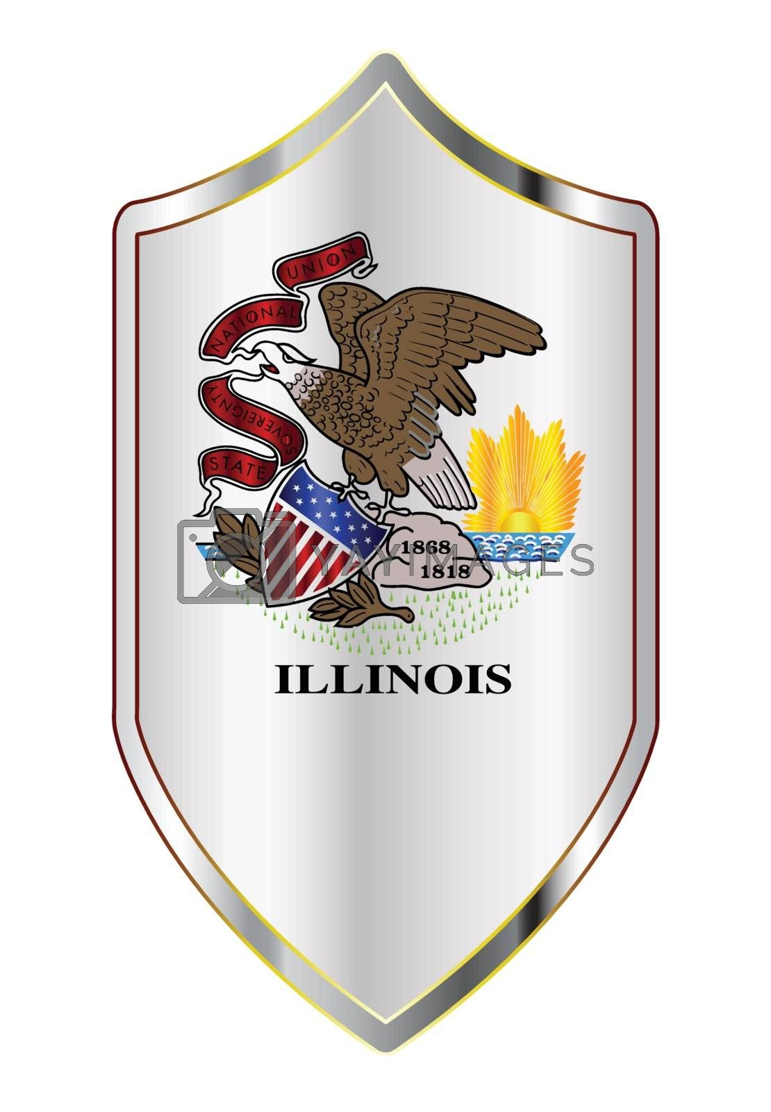 A typical crusader type shield with the state flag of Illinois all isolated on a white background