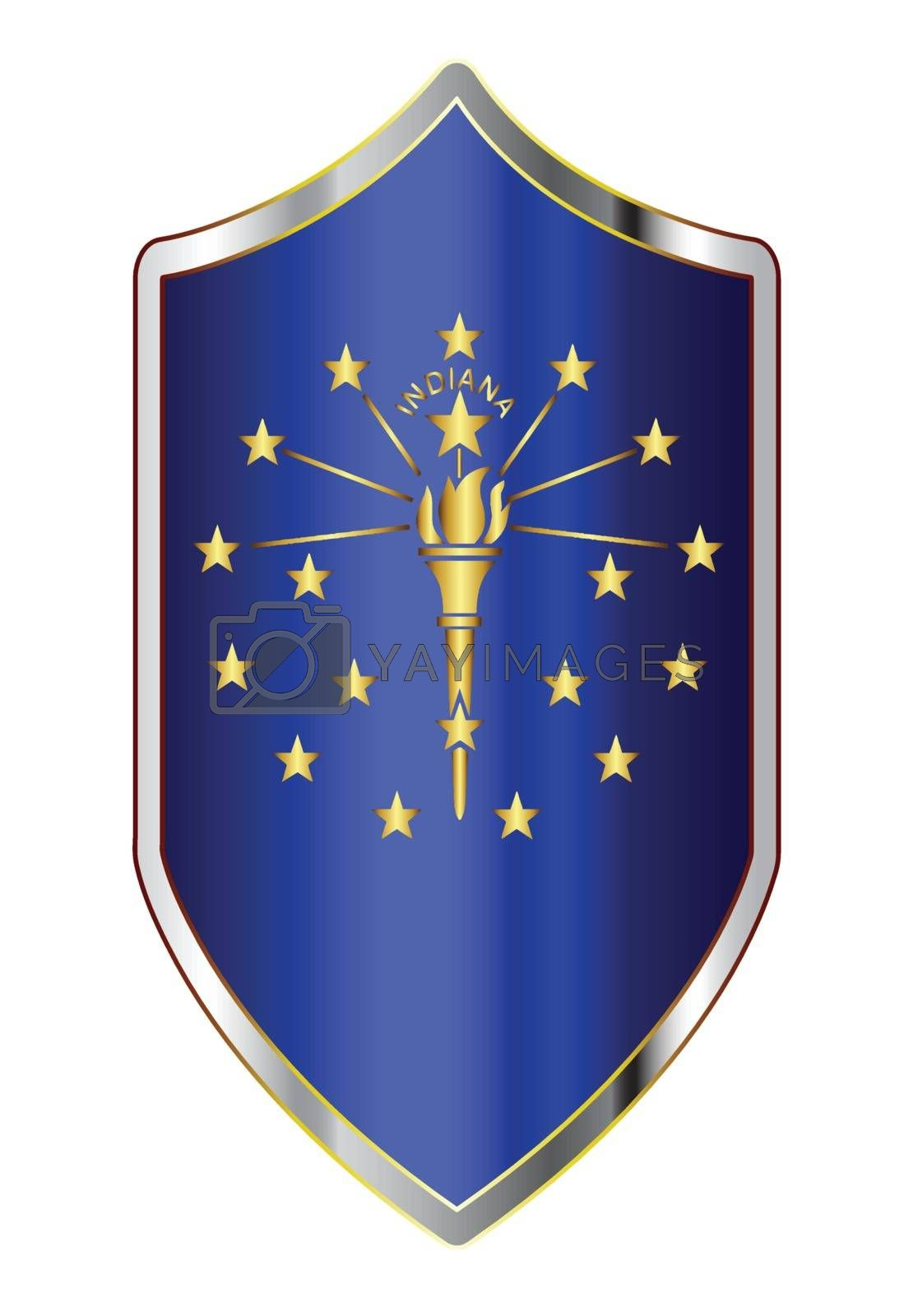 A typical crusader type shield with the state flag of Indiana all isolated on a white background