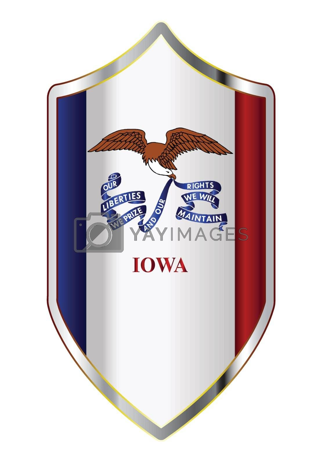 A typical crusader type shield with the state flag of Iowa all isolated on a white background