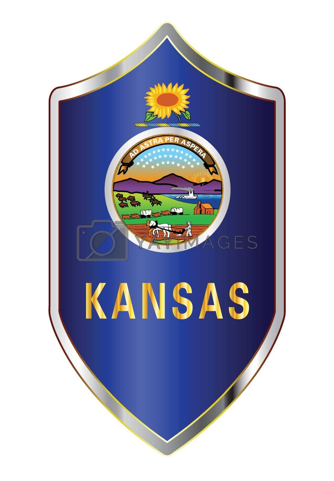 A typical crusader type shield with the state flag of Kansas all isolated on a white background