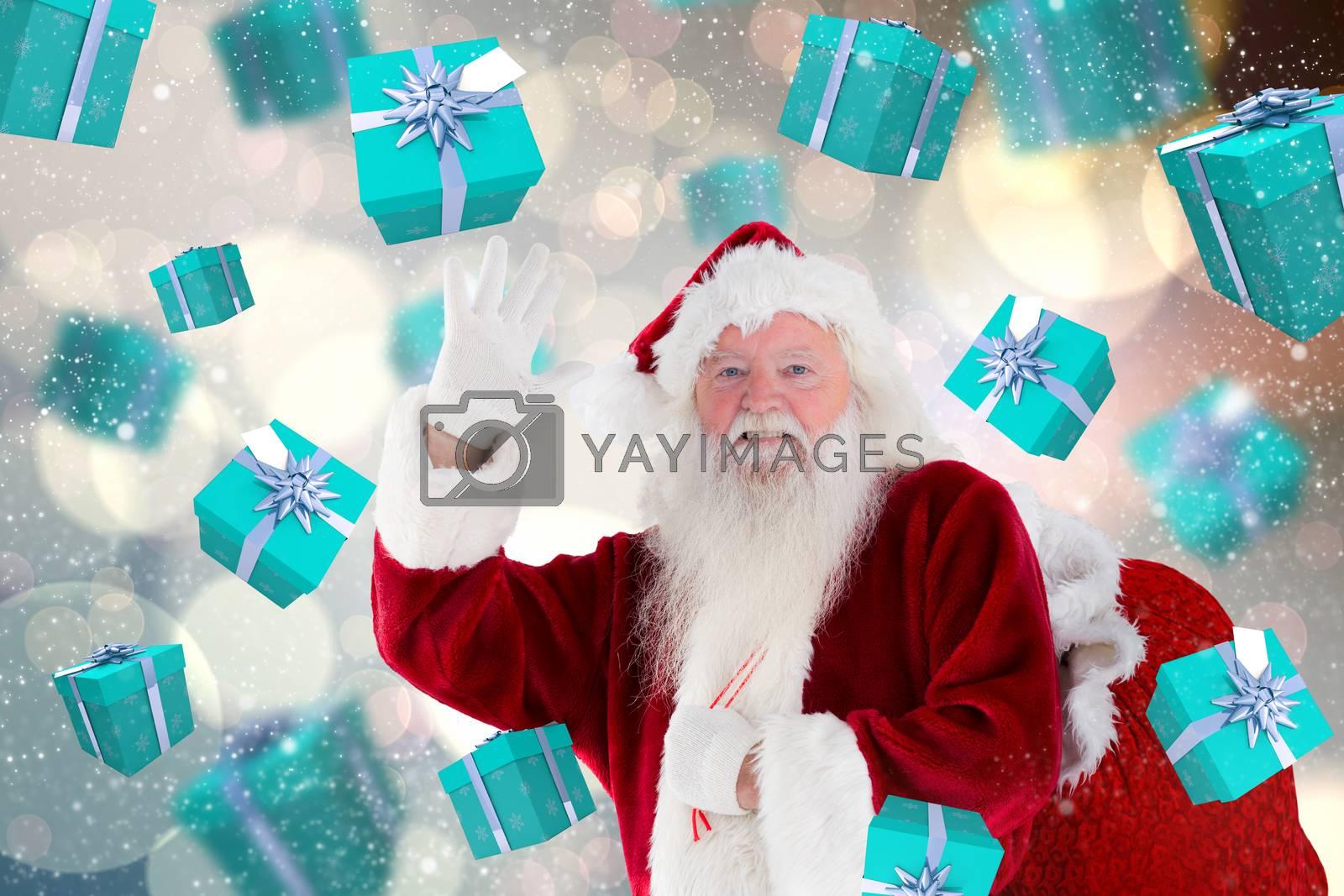 Santa claus waving against light glowing dots design pattern