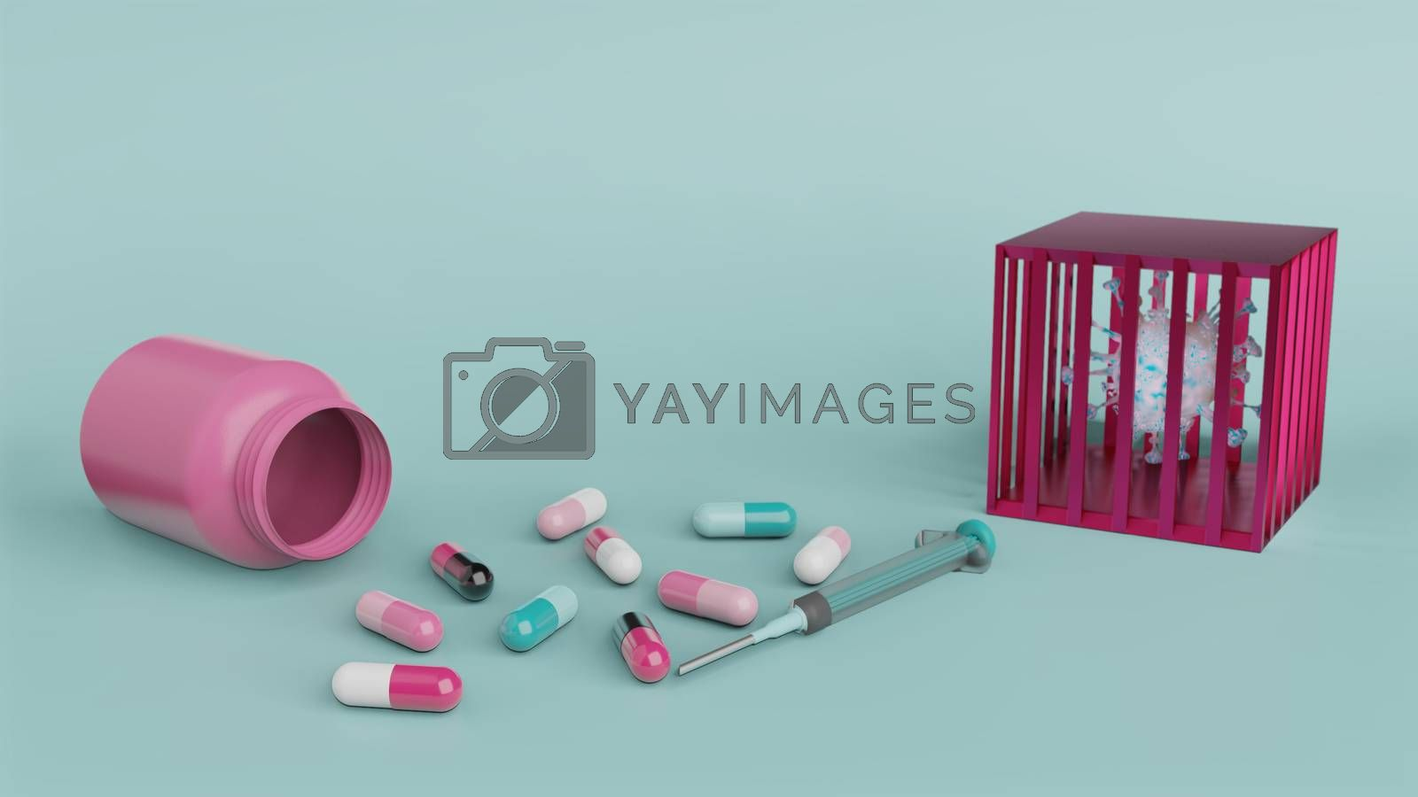 Royalty free image of Syringe and medicine capsule with bottle and virus in cage by eaglesky