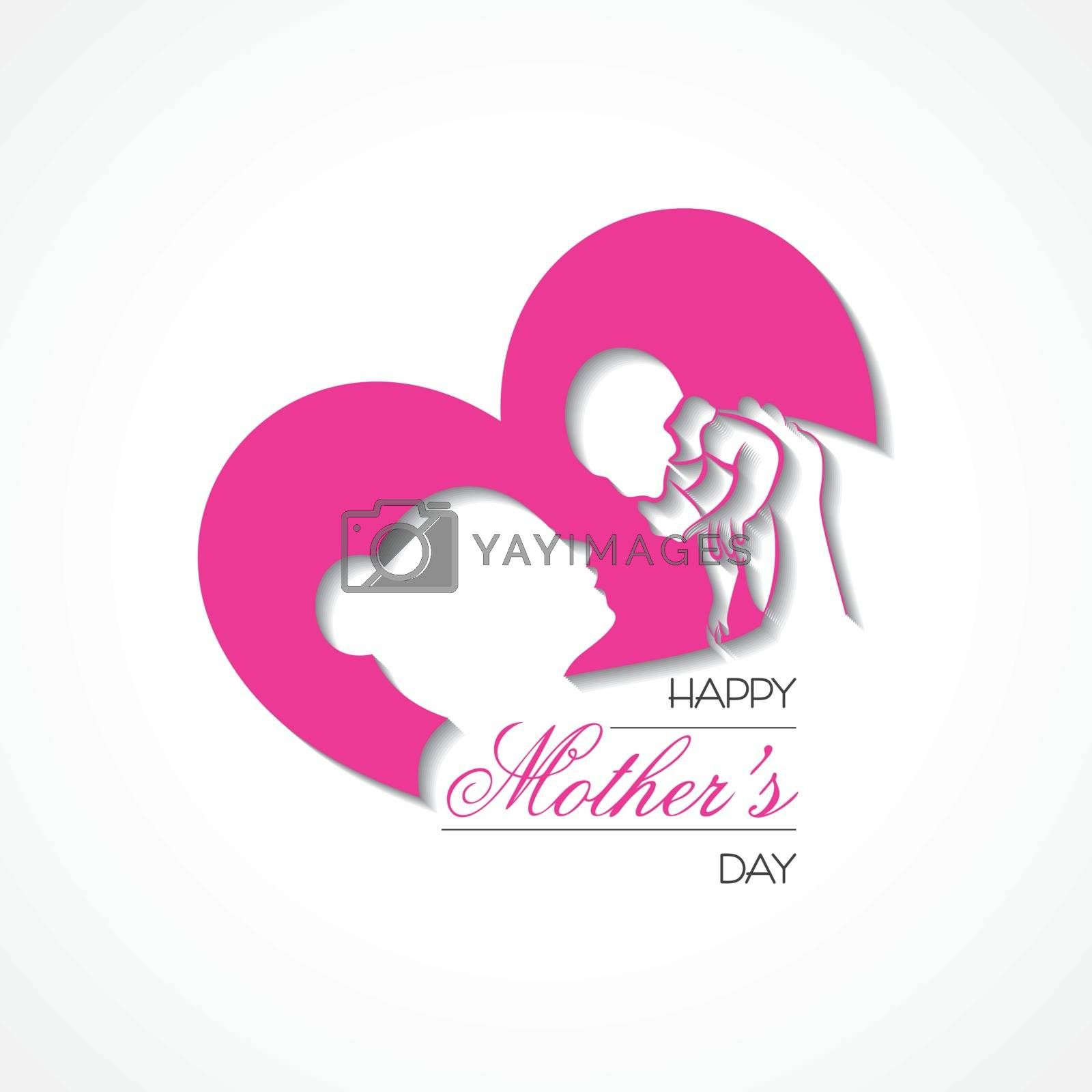 Illustration of Happy Mother`s Day Greeting, banner or poster,best mom ever concept