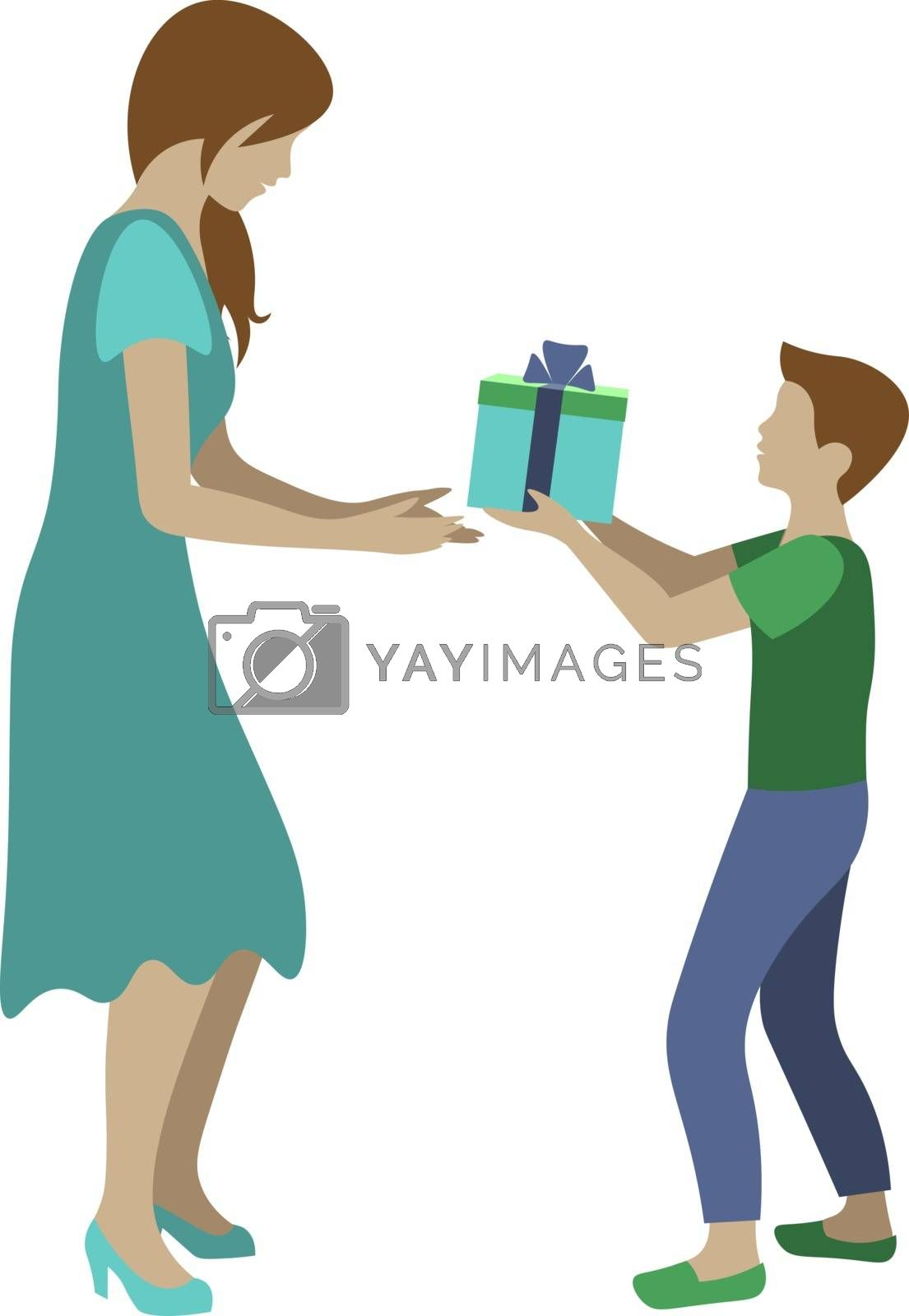 cartoon illustration with little son holdint gift box and giving it to his mother