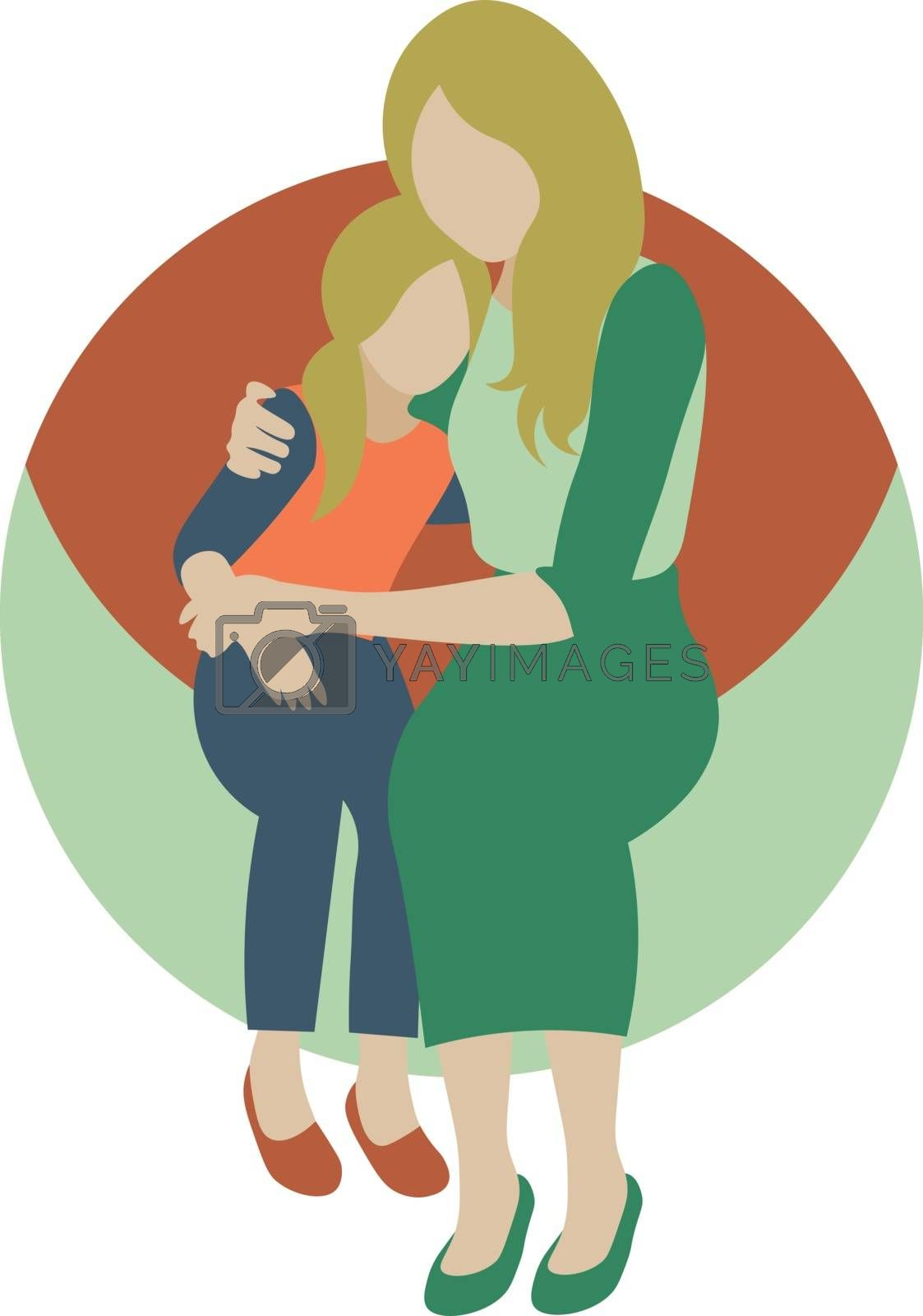 cute cartoon illustration with mother hugging her little daughter