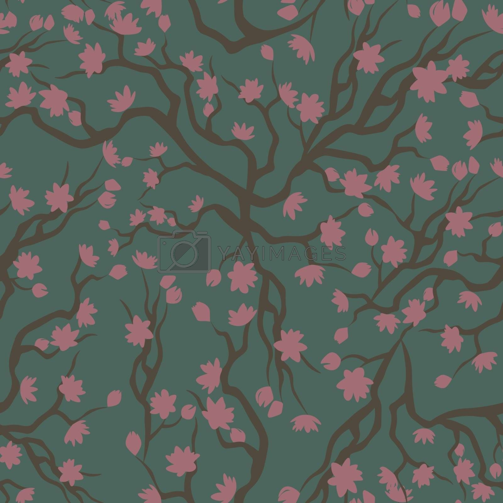 spring vintage seamless pattern in halftones with pink flowers on the branches on green background