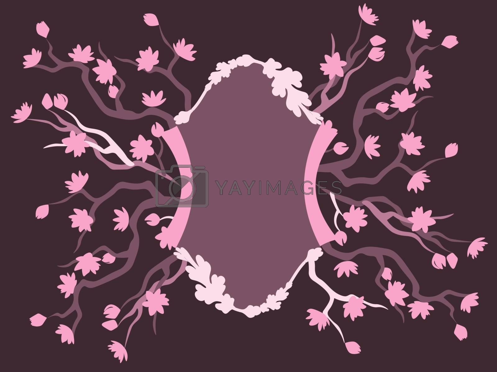 elegant purple frame template for greeting card with blooming sakura branches in purple tones