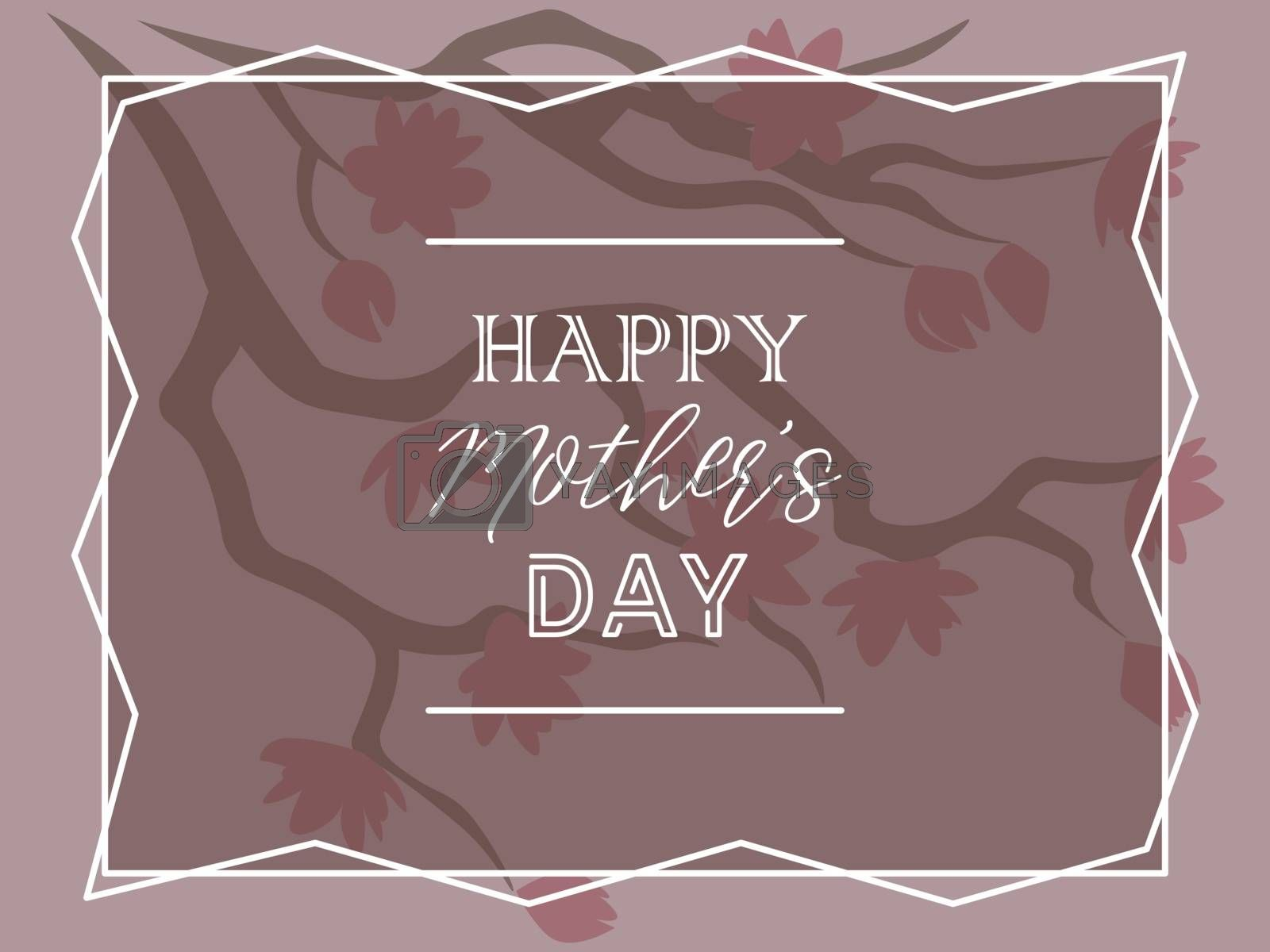 elegant greeting card for mother's day with sakura tree in pink tones