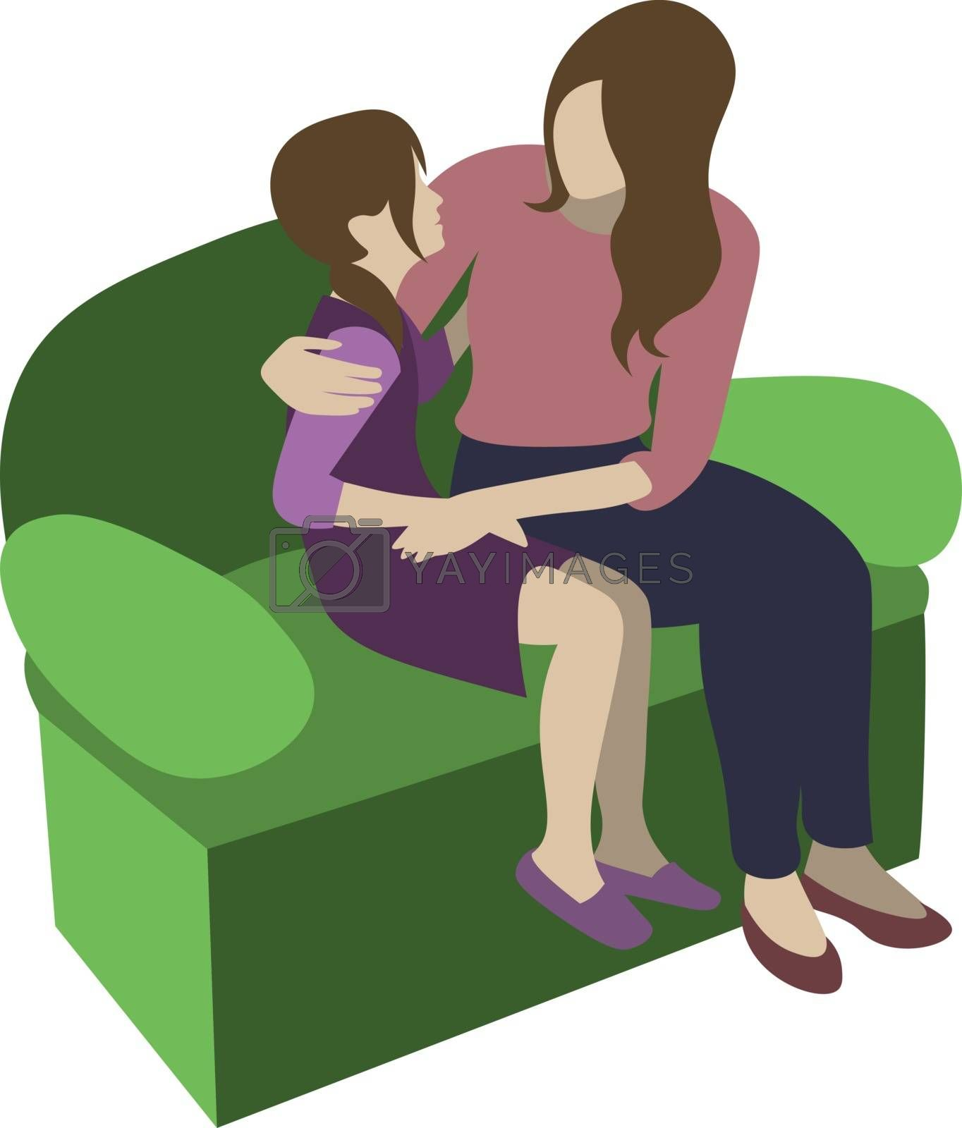 mother hugging her daughter on the sofa and takling with her