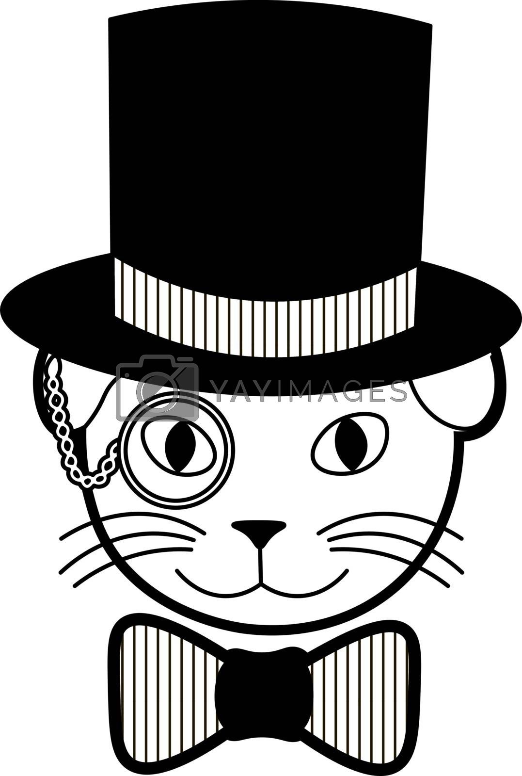 funny illustration of elegant smiling cat with monocle in the cylinder and bowtie