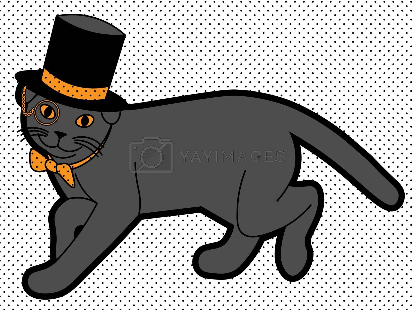 cute illustration of walking black cat with monocle in the cylinder and bowtie