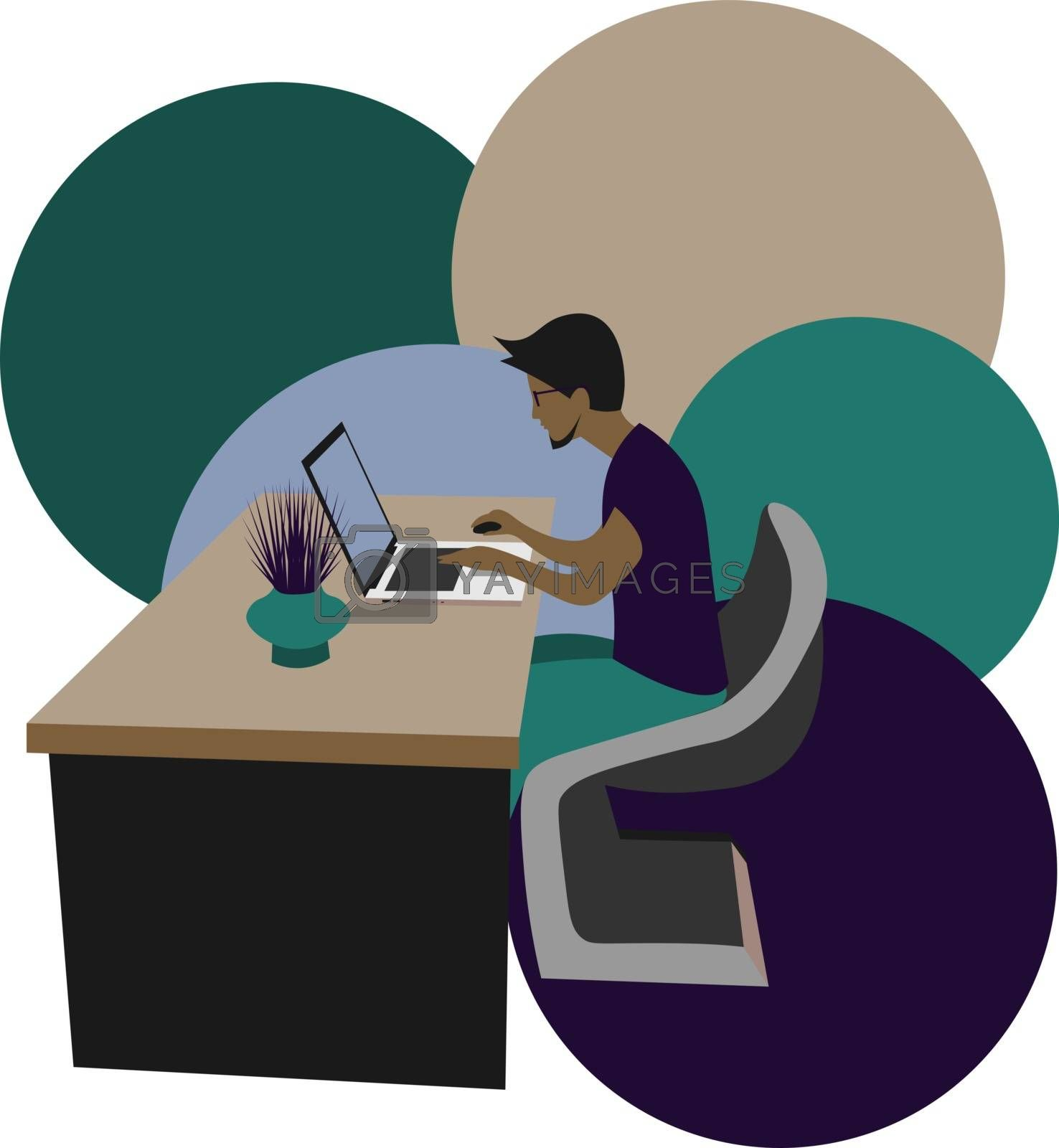 clorful illustration of a young man sitting at the laptop on abstract background