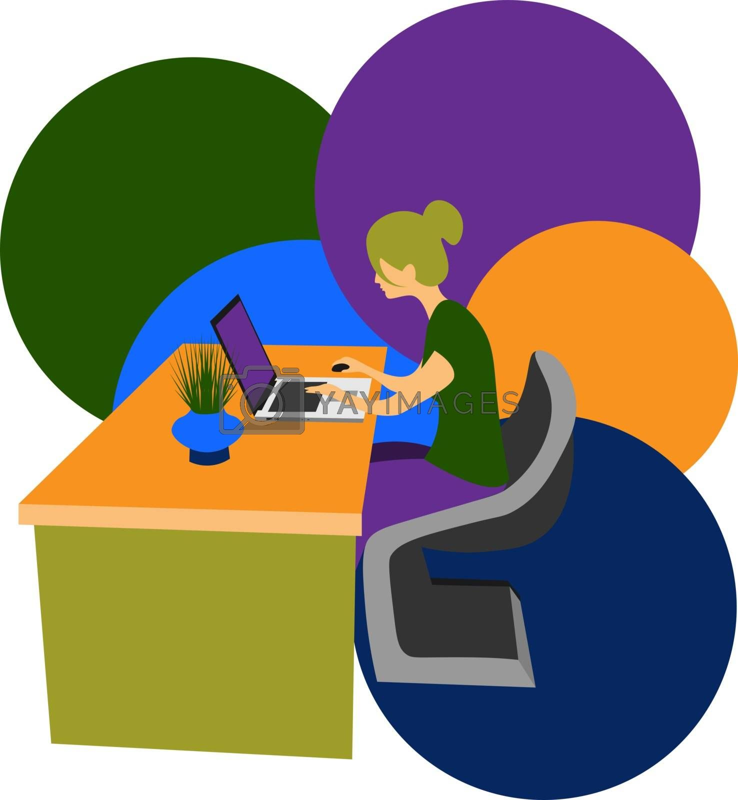 colorful illustration of a young woman sitting at the laptop on abstract background