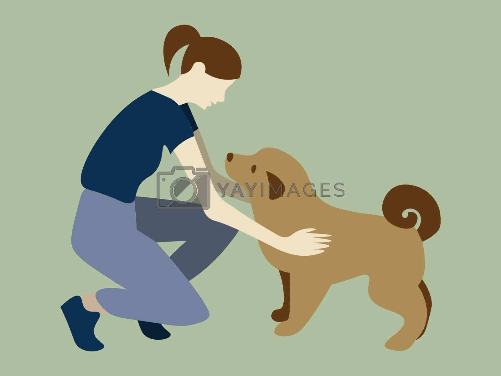 cartoon illustration of faceless woman stroking a dog