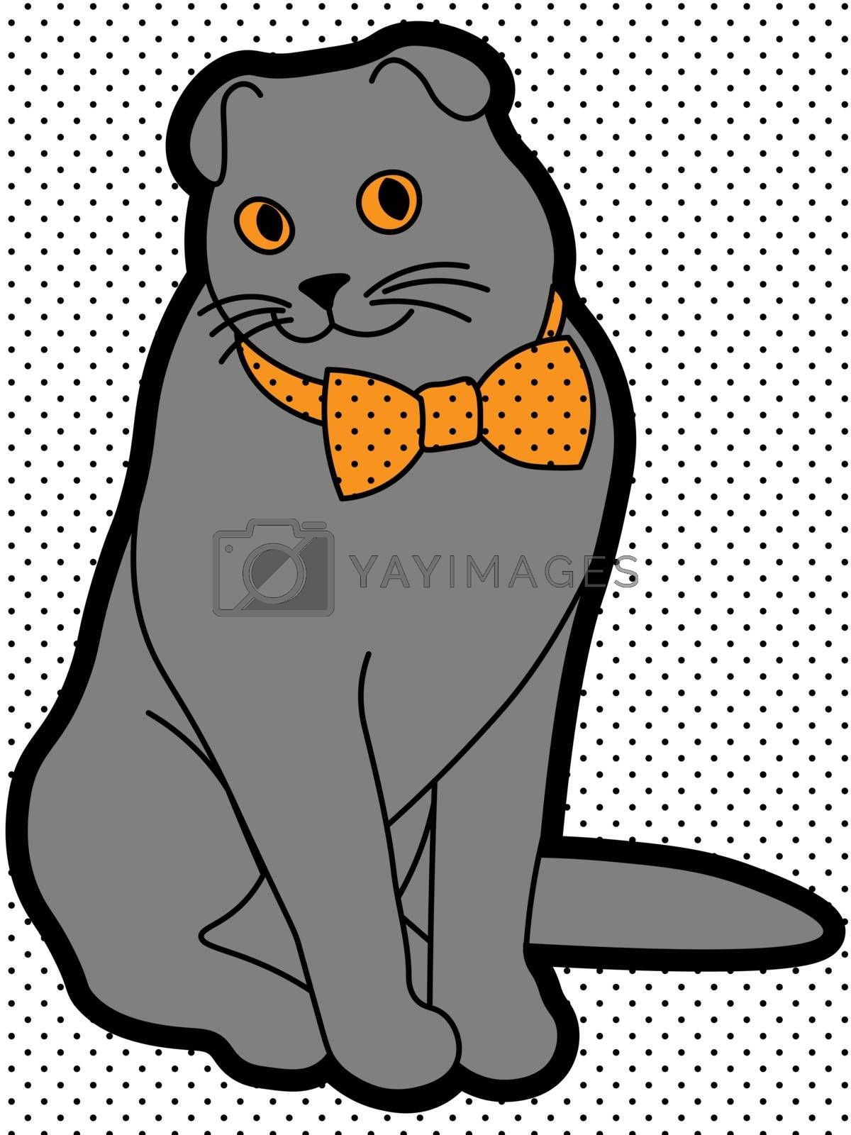 cute and weird grey cat scottish fold with the bowtie