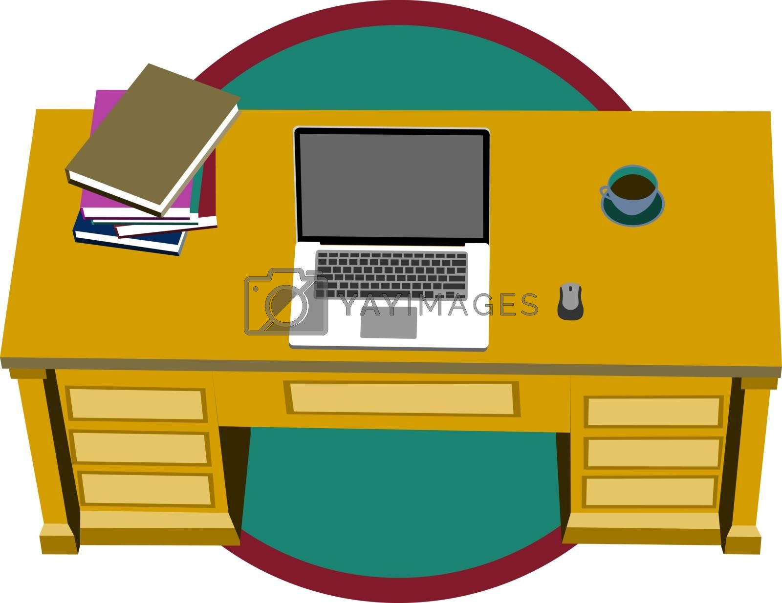 Colorful illustration of office or home workplace with laptop, document folders and cup of coffee