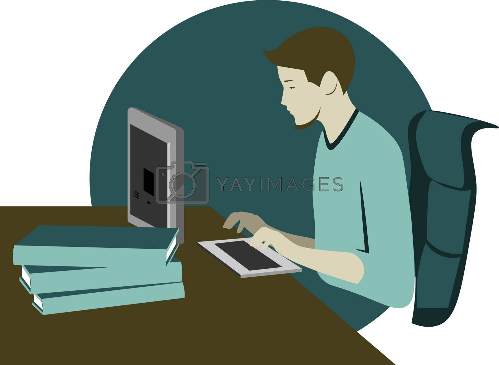 Colorful illustration of workplace and the young man sitting at the computer
