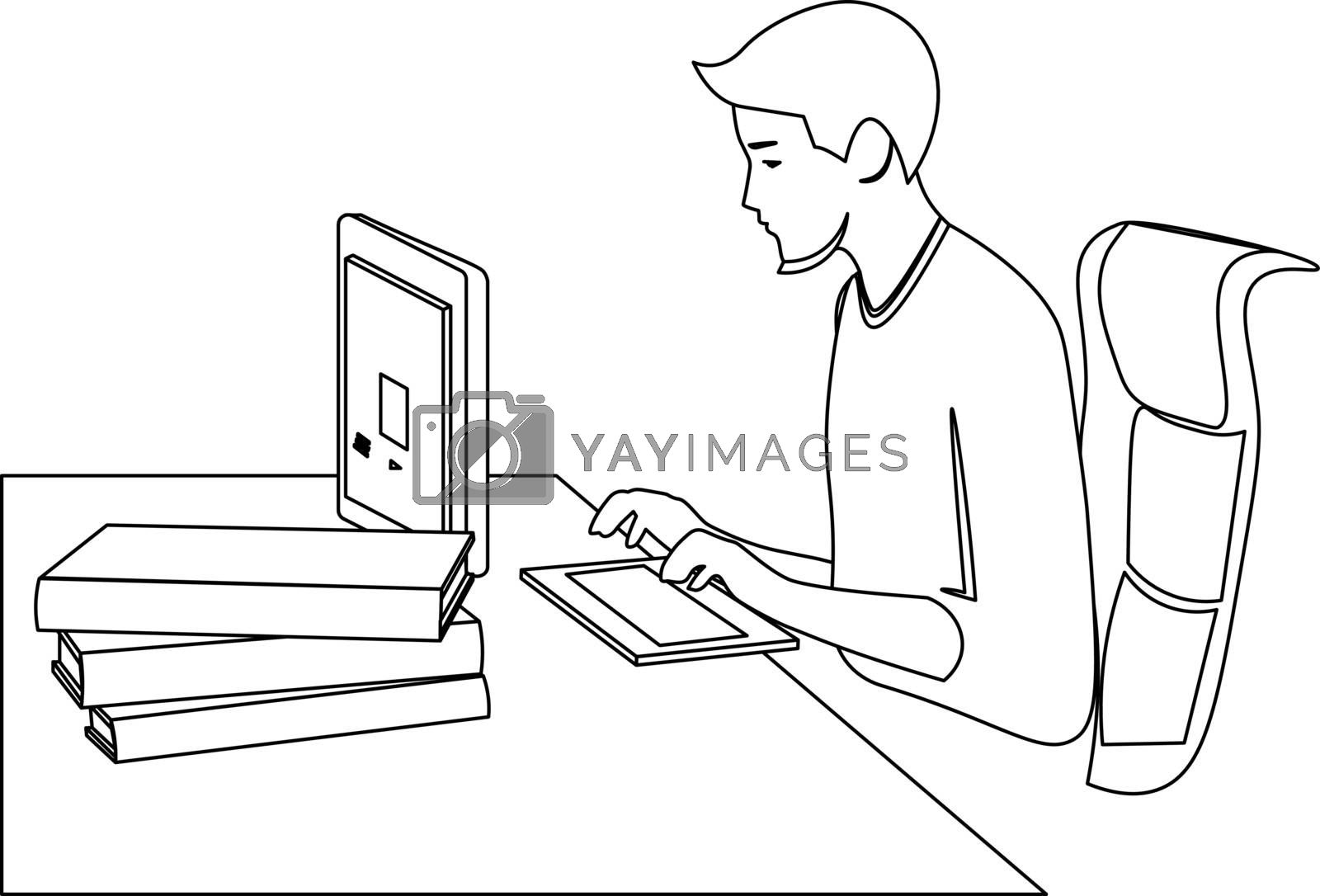 Minimal line art of workplace and the young man sitting at the computer