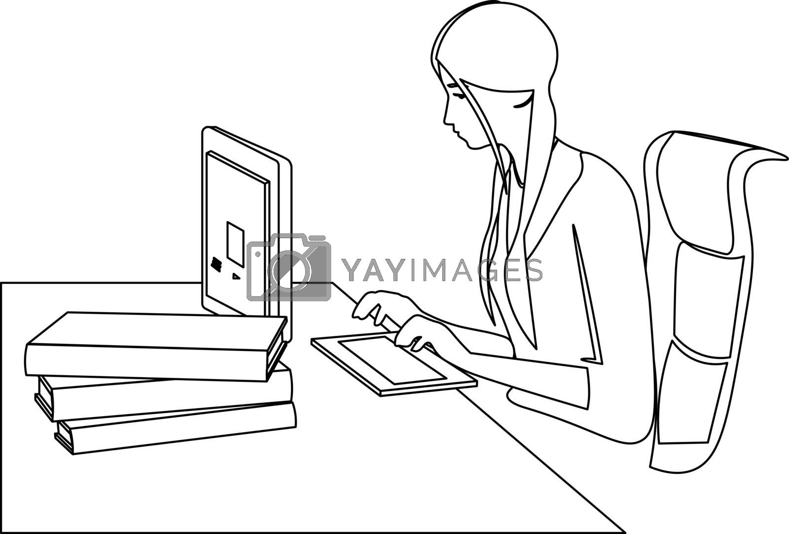 Minimal line art of workplace and the young woman sitting at the computer