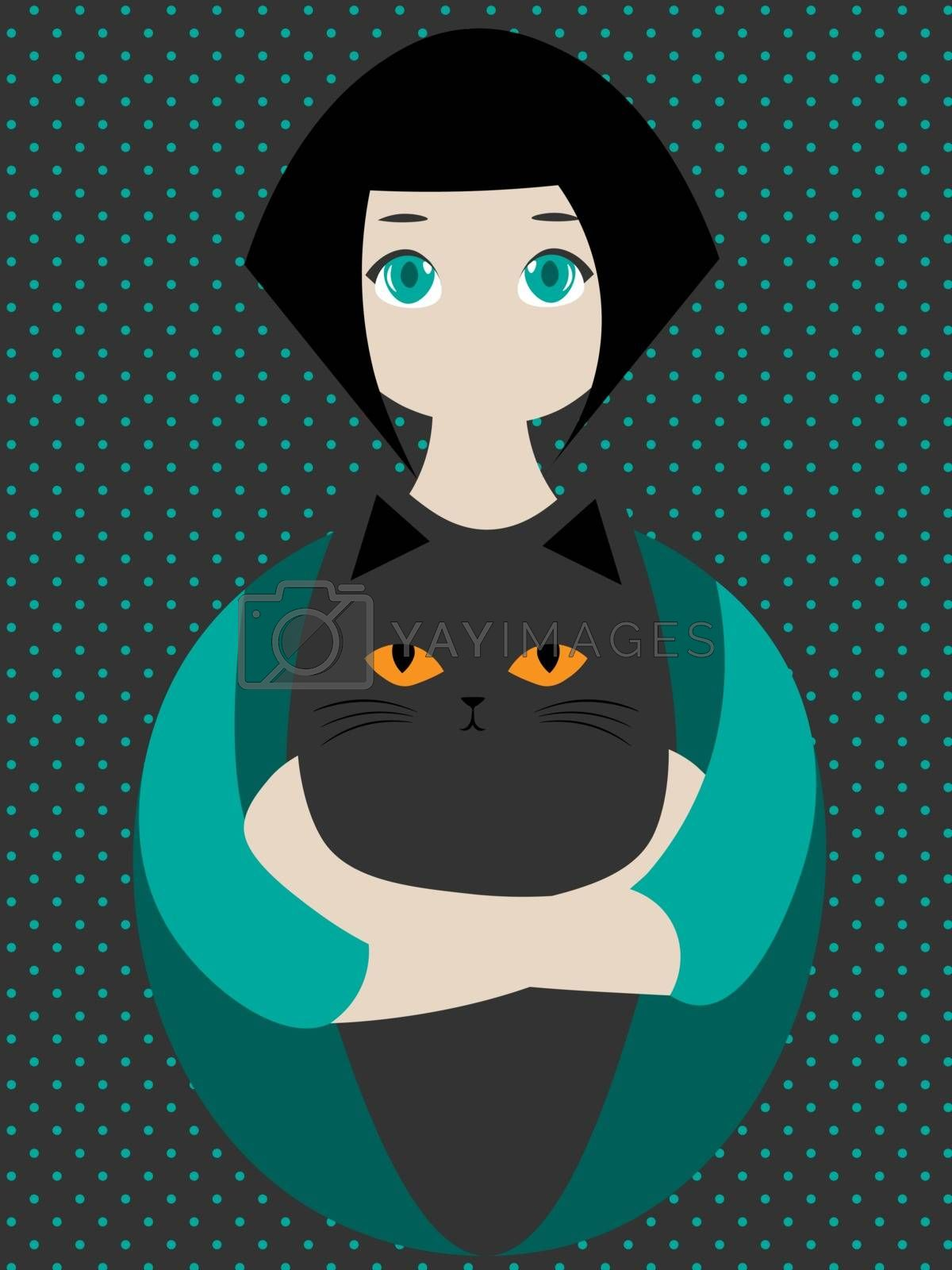 Cute and cozy illustration with brunette girl hugging a black cat with yellow eyes