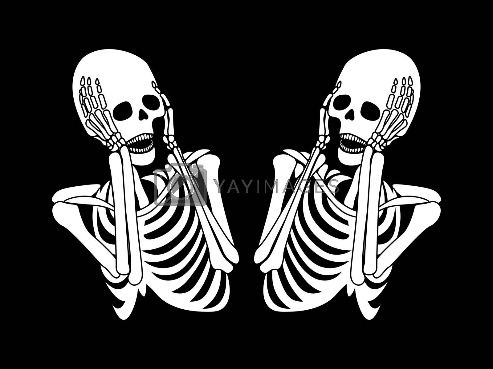 Spooky black and white illustration with two cartoon screaming skeletons
