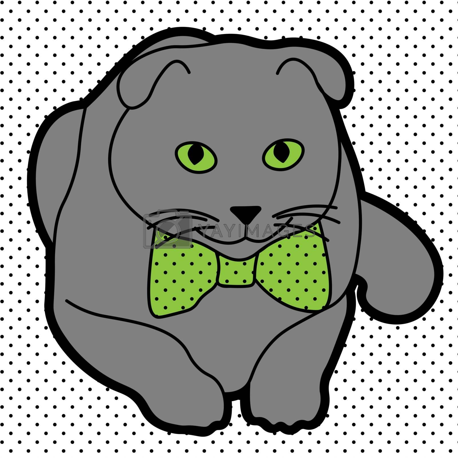 Cute and cheerful grey cat with green eyes and bow tie on dotted background