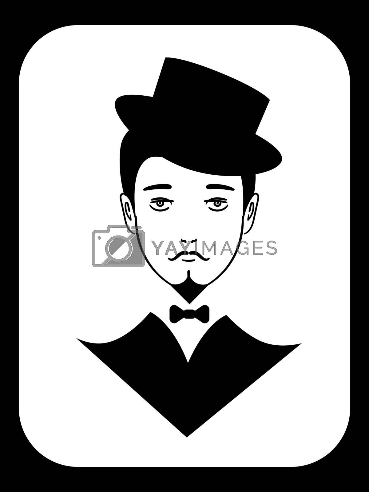 Black and white icon with vintage gentleman in tuxedo and hat