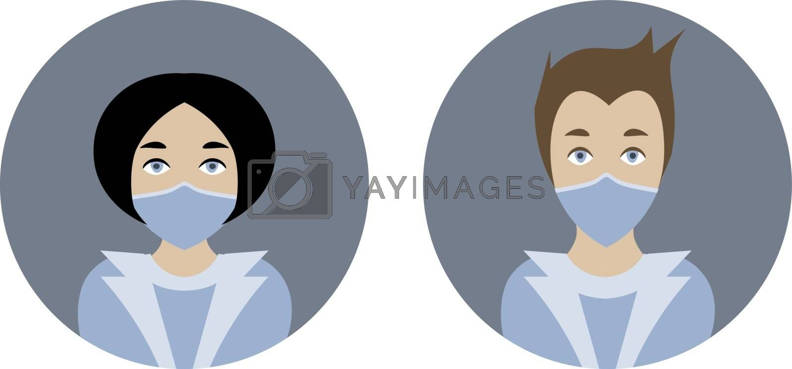 Two icons or avatars with man and woman doctors in medical masks