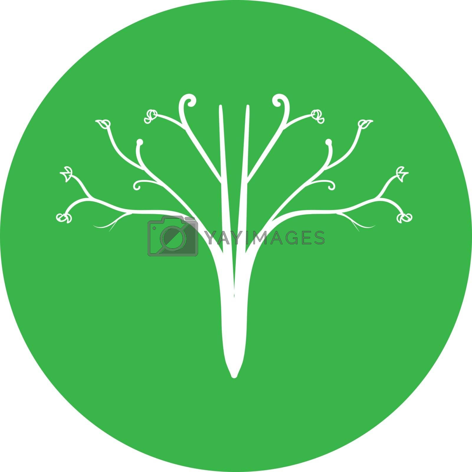 Simple elegant green icon or logo with white minimal blooming tree