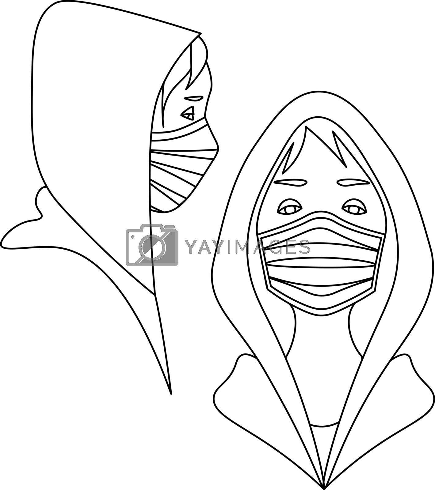 Simple minimal line art with two young people in hoodies and medical masks
