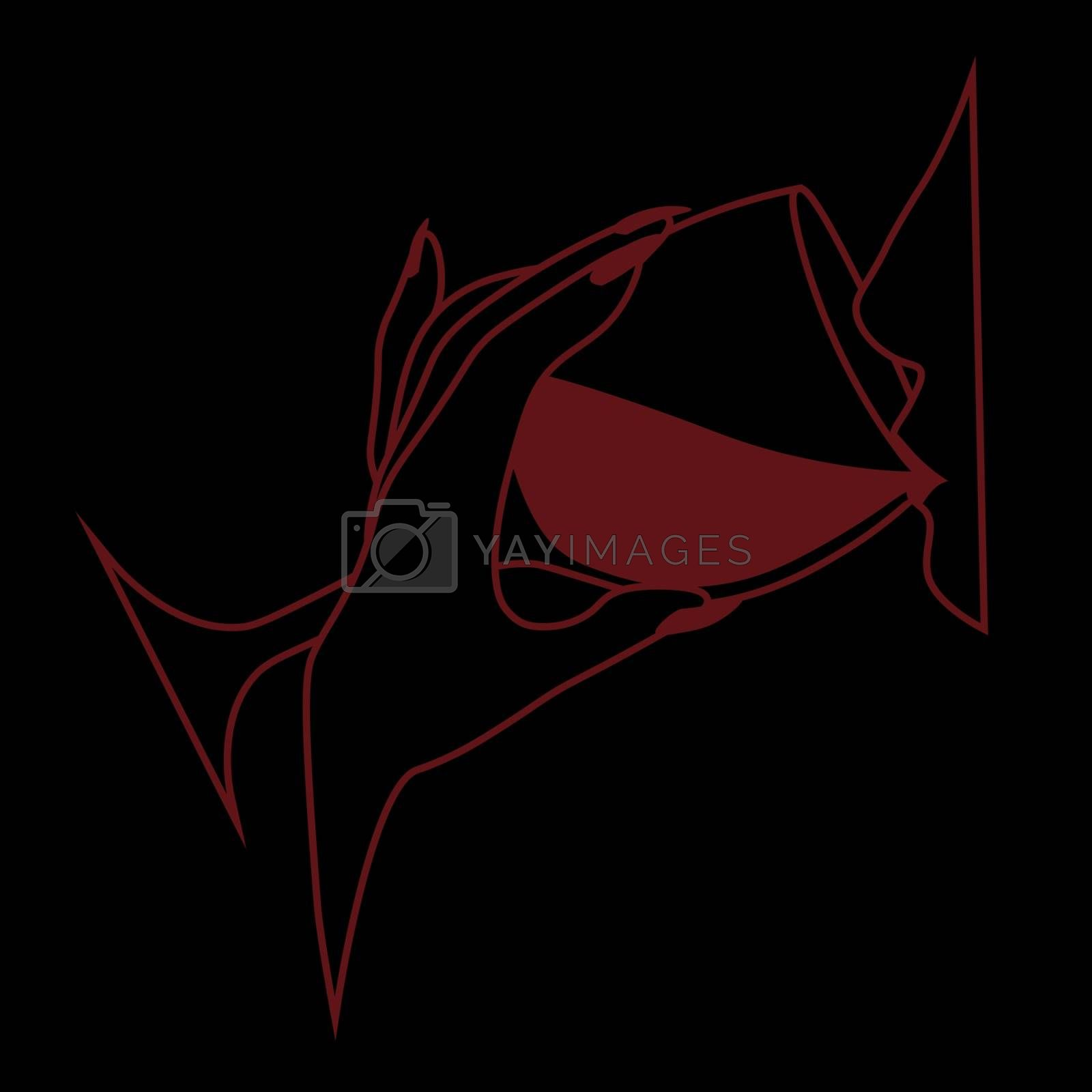 Minimal red line art with woman profile drinking wine on black background
