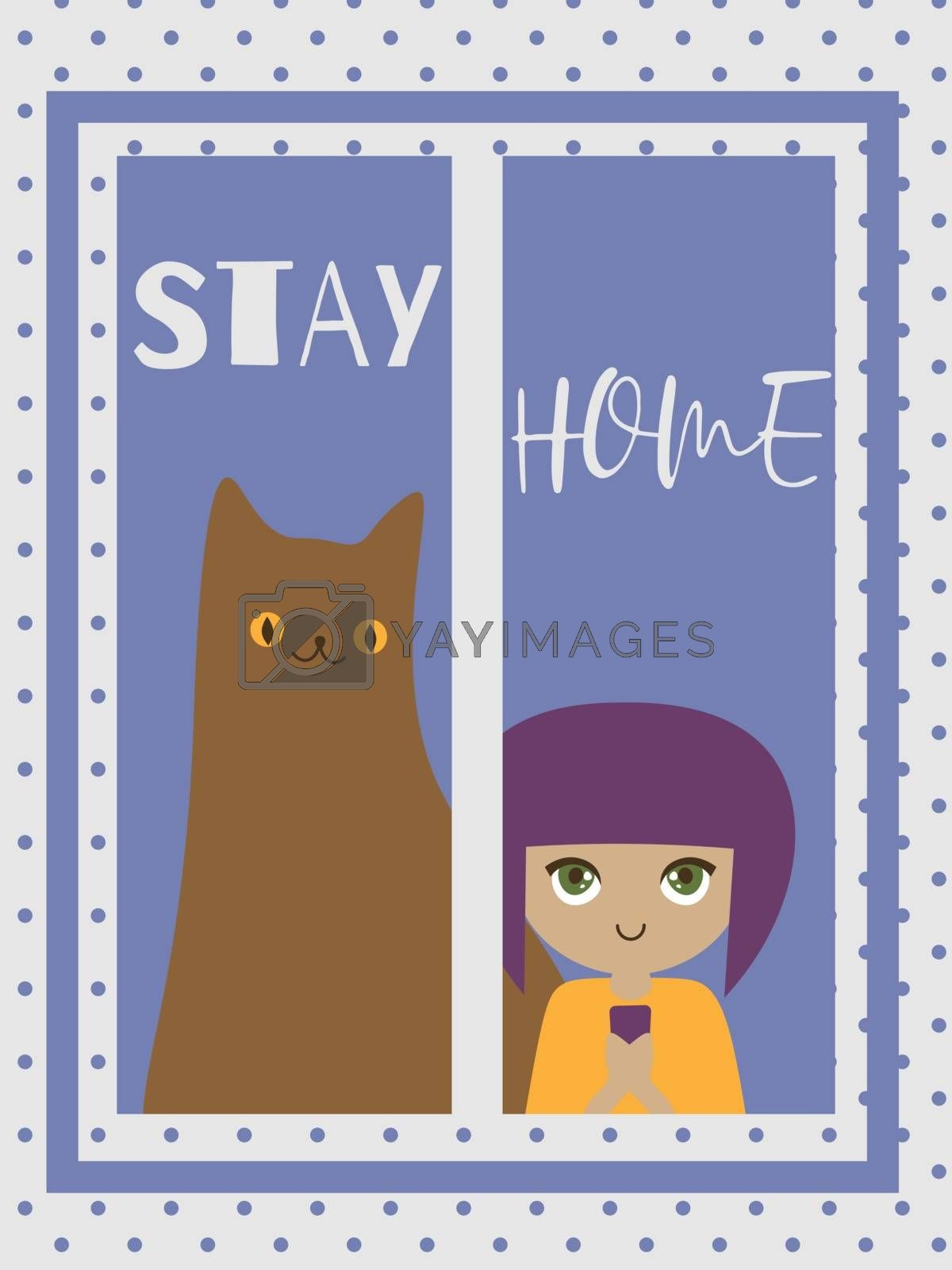 Cute and cozy illustration with little girl and big cat in the window and text 'stay home'