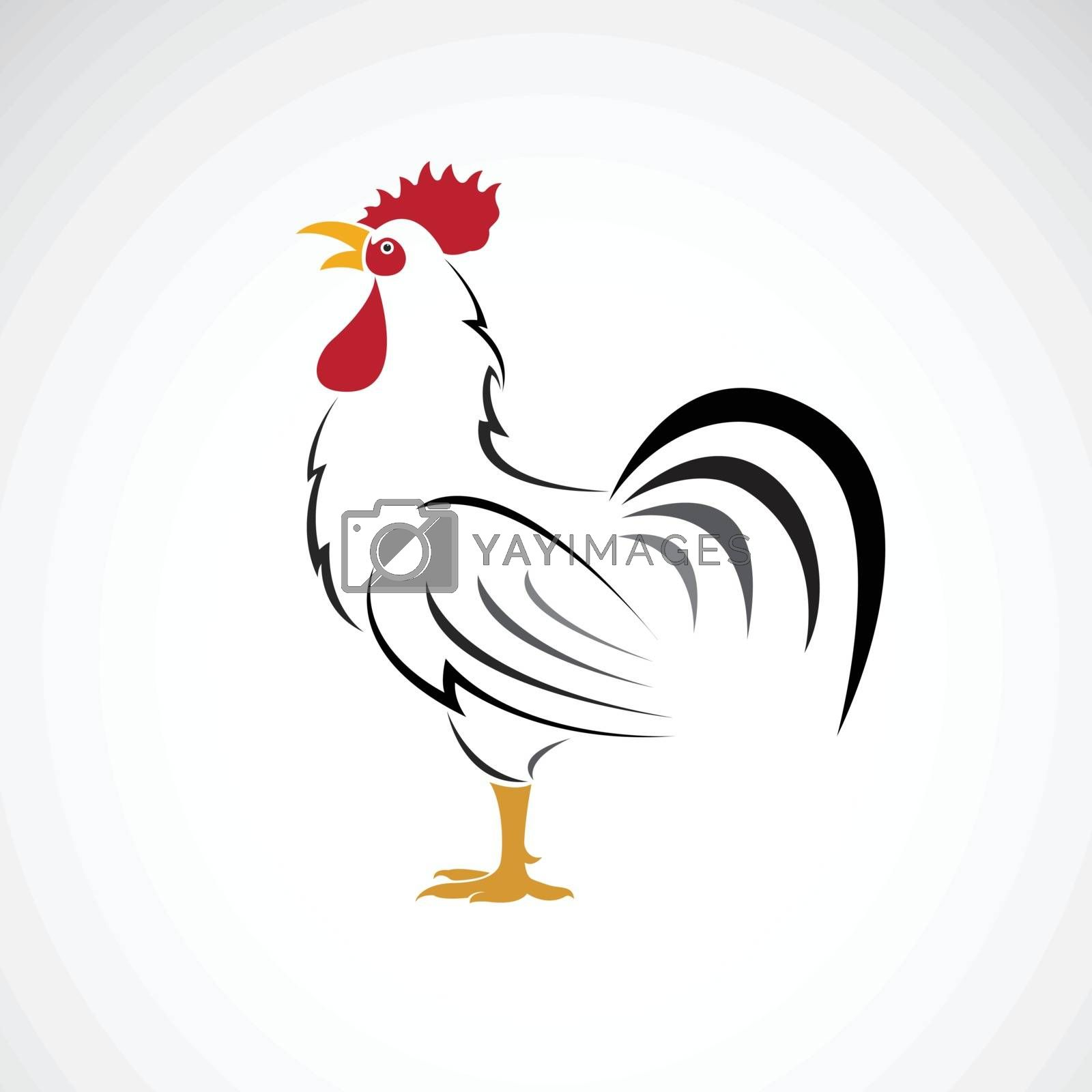 Vector of rooster or cock design on white background. Farm Animal. Chicken logos or icons. Easy editable layered vector illustration.