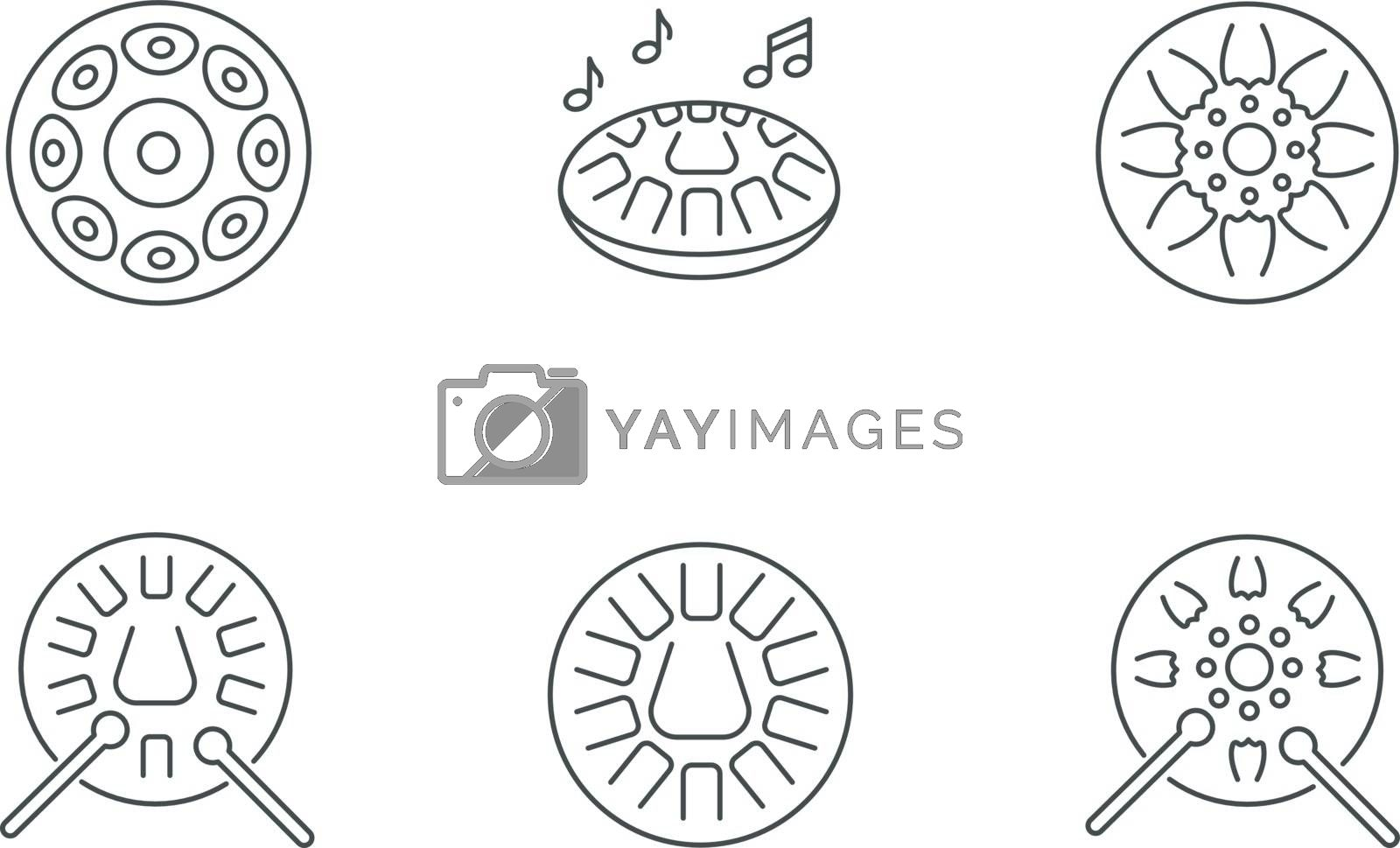 Ornamental handpan pixel perfect linear icons set by bsd