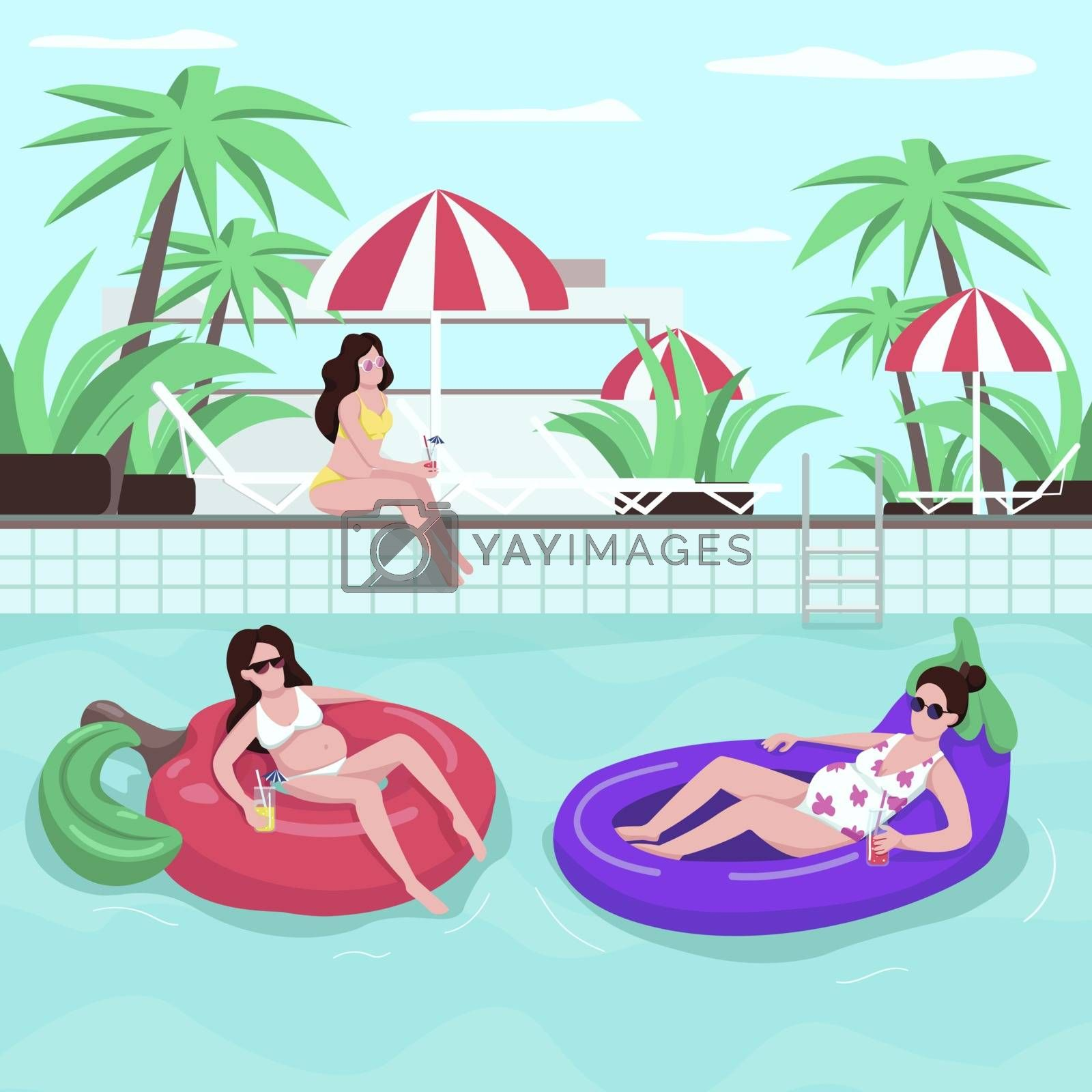 Family summer tour flat color vector illustration. Girl in sunglasses. Female with drink. People on inflatable water rings. Pregnant woman 2D cartoon characters with loungers on background. ZIP file contains: EPS, JPG. If you are interested in custom design or want to make some adjustments to purchase the product, don't hesitate to contact us! bsd@bsdartfactory.com