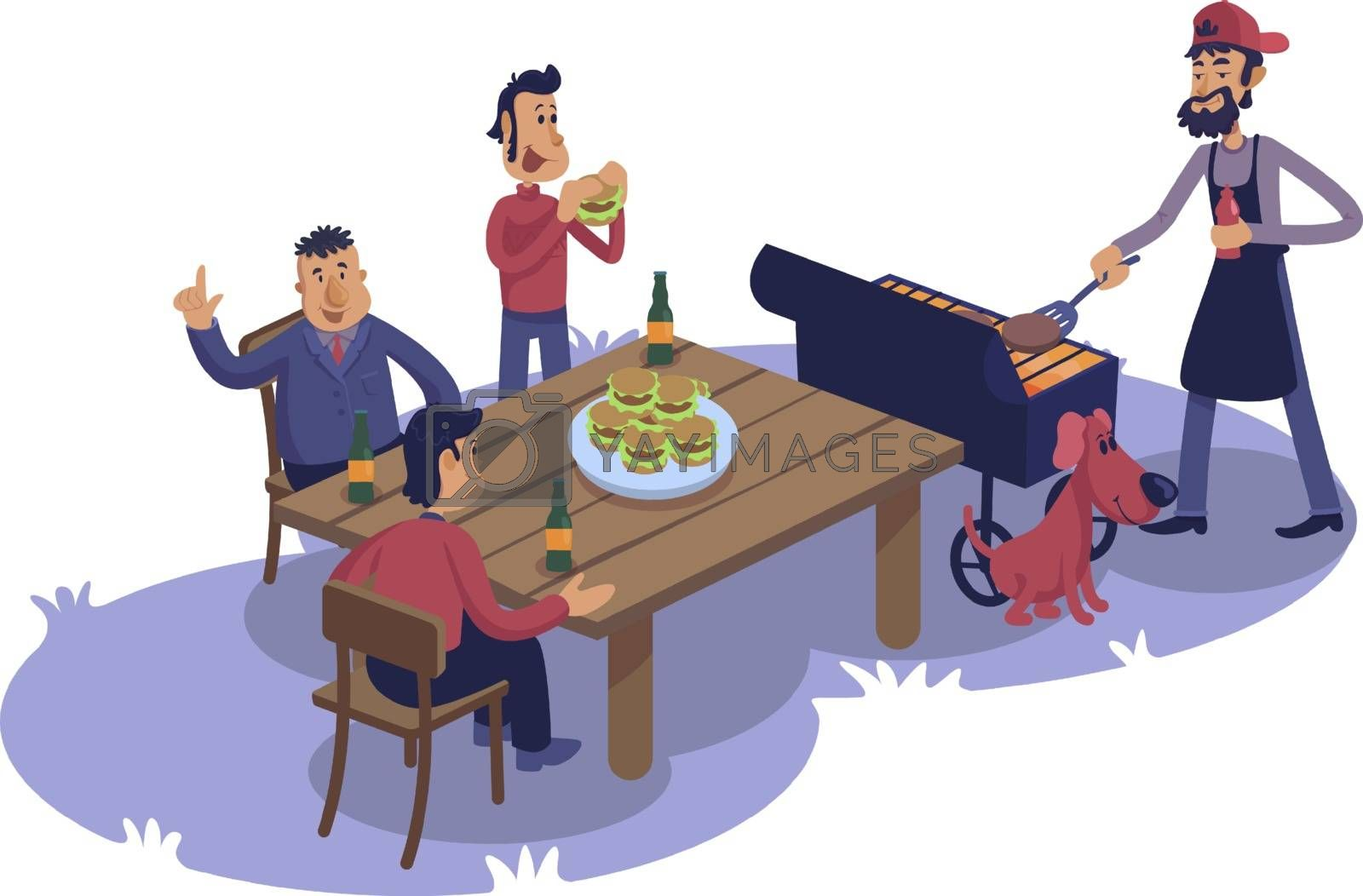 Male friends at barbecue flat cartoon vector illustration. Men cooking and eating burgers outdoor. Ready to use 2d character template for commercial, animation, printing design. Isolated comic hero. ZIP file contains: EPS, JPG. If you are interested in custom design or want to make some adjustments to purchase the product, don't hesitate to contact us! bsd@bsdartfactory.com