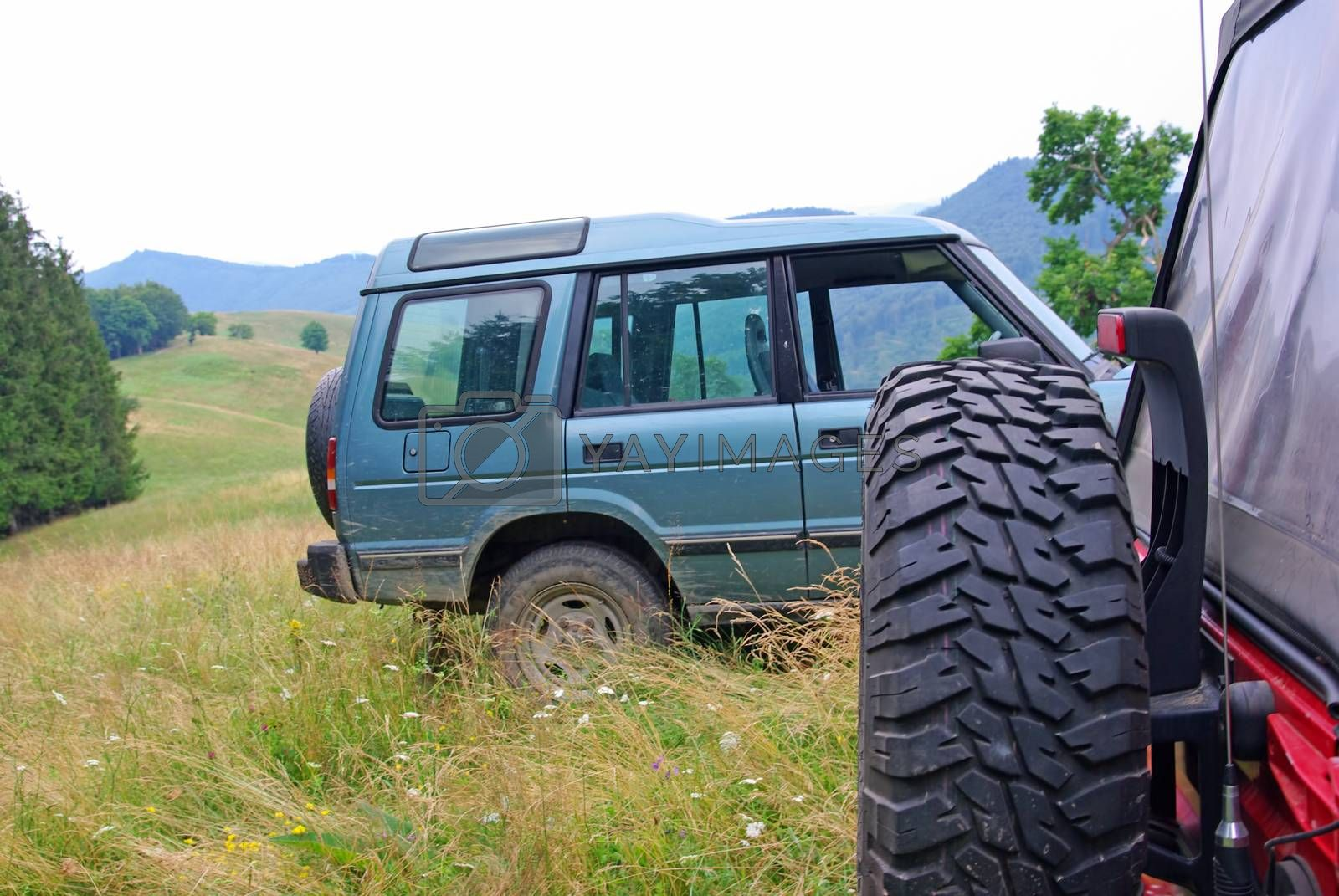 Off road cars  on green hill in summer scene