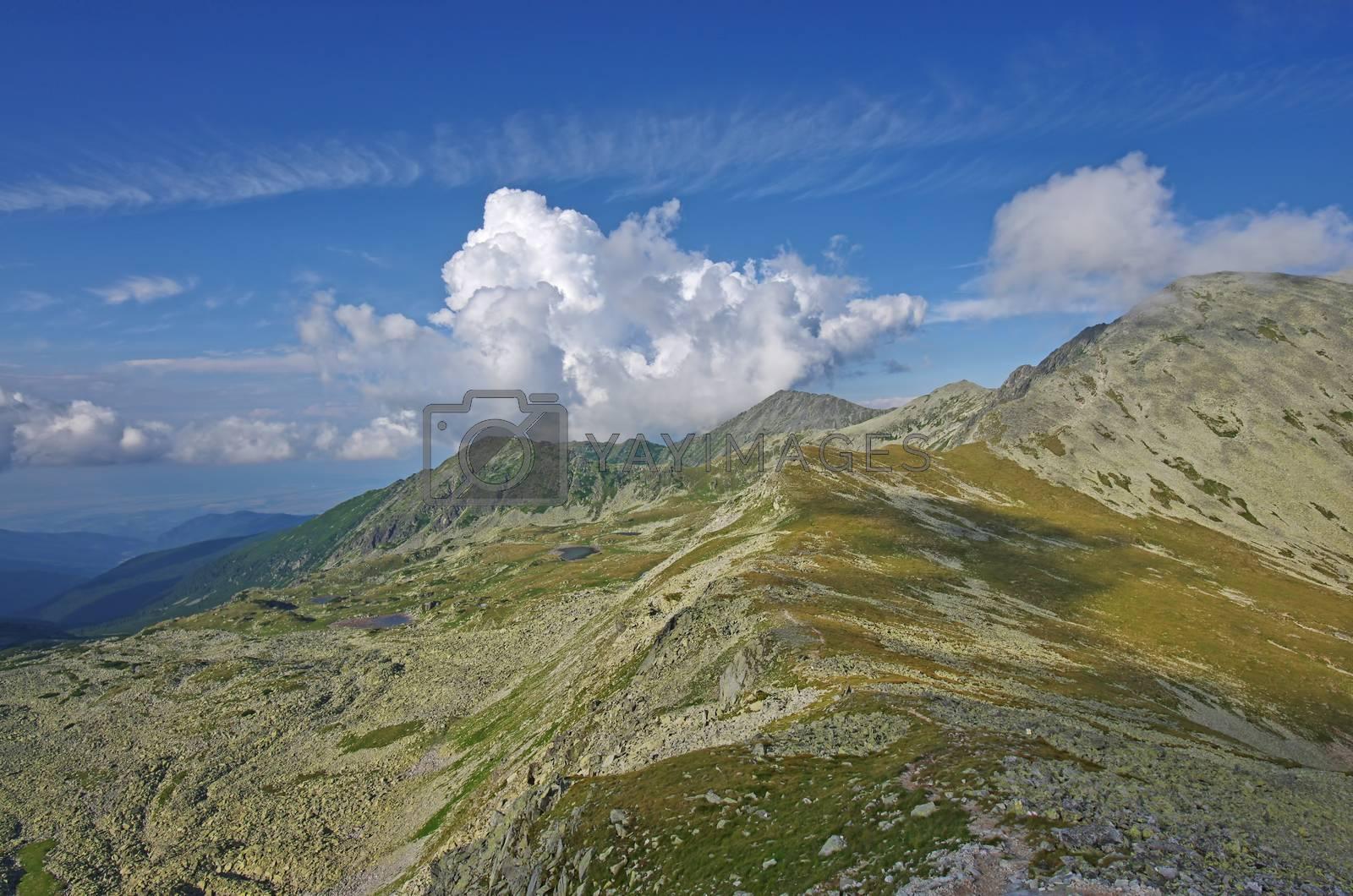 Summer alpine mountain in Romanian Carpathians, Retezat mountain
