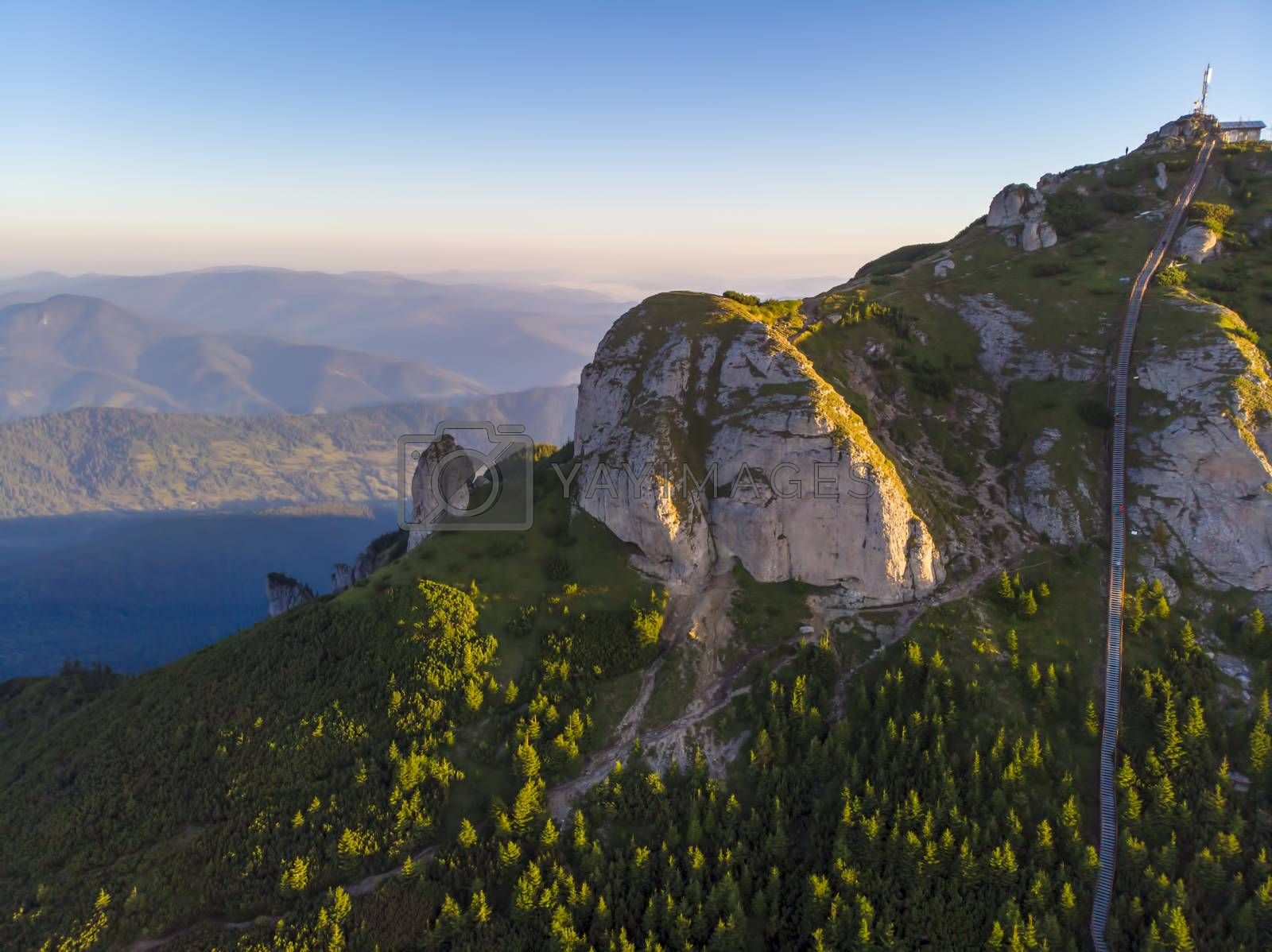 Royalty free image of Aerial rocky summit and access stairs by savcoco