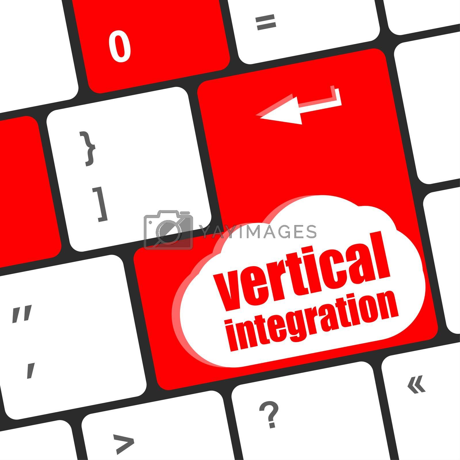 Computer enter keyboard keys with vertical integration words
