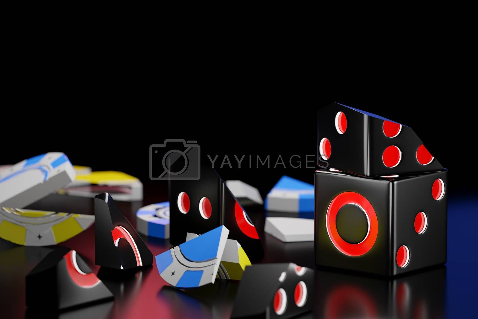 Fragments from the breaking of dice and casino chips stack on a black background in the dark. The concept for business betting failures and The loser of the gambler. 3D illustrator rendering.