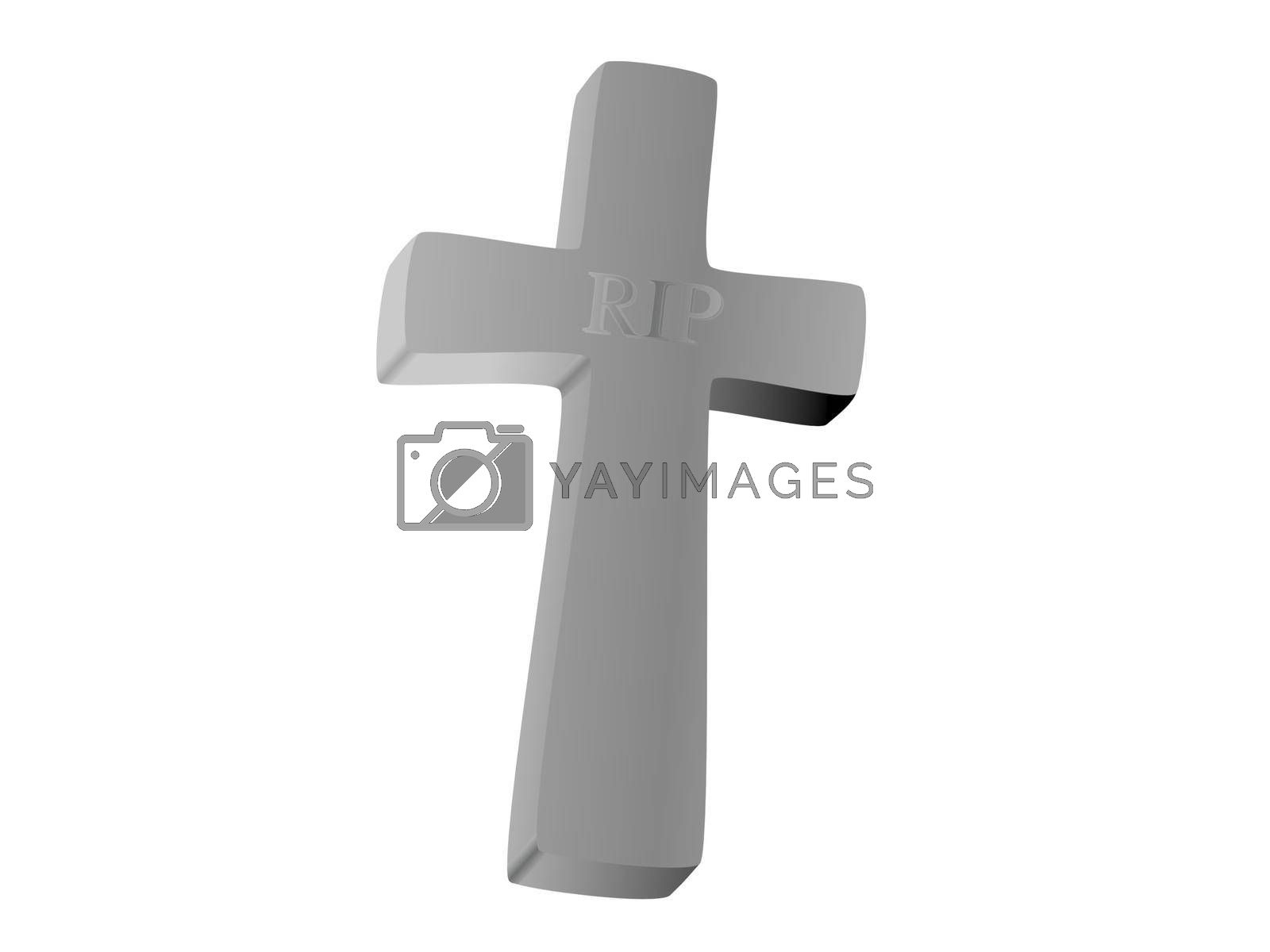 cross on clouds background and sky - 3D rendering