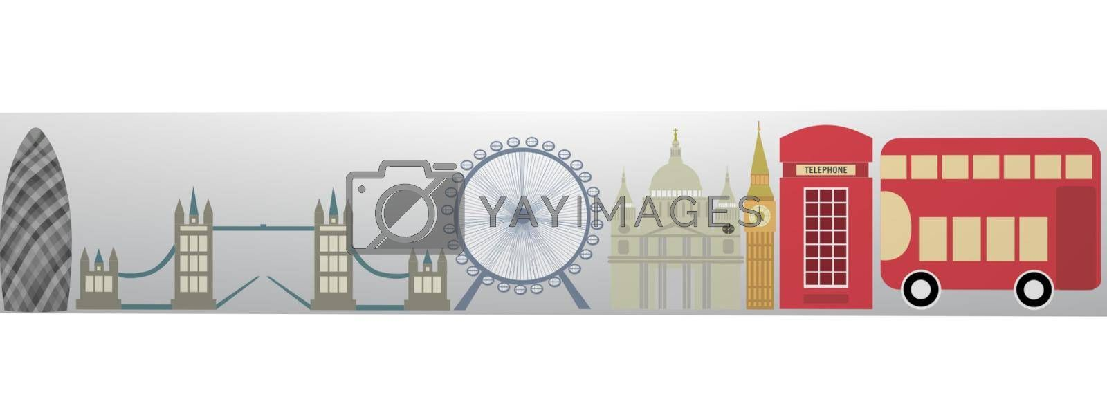 very beautiful red city of london on white background - 3d rendering
