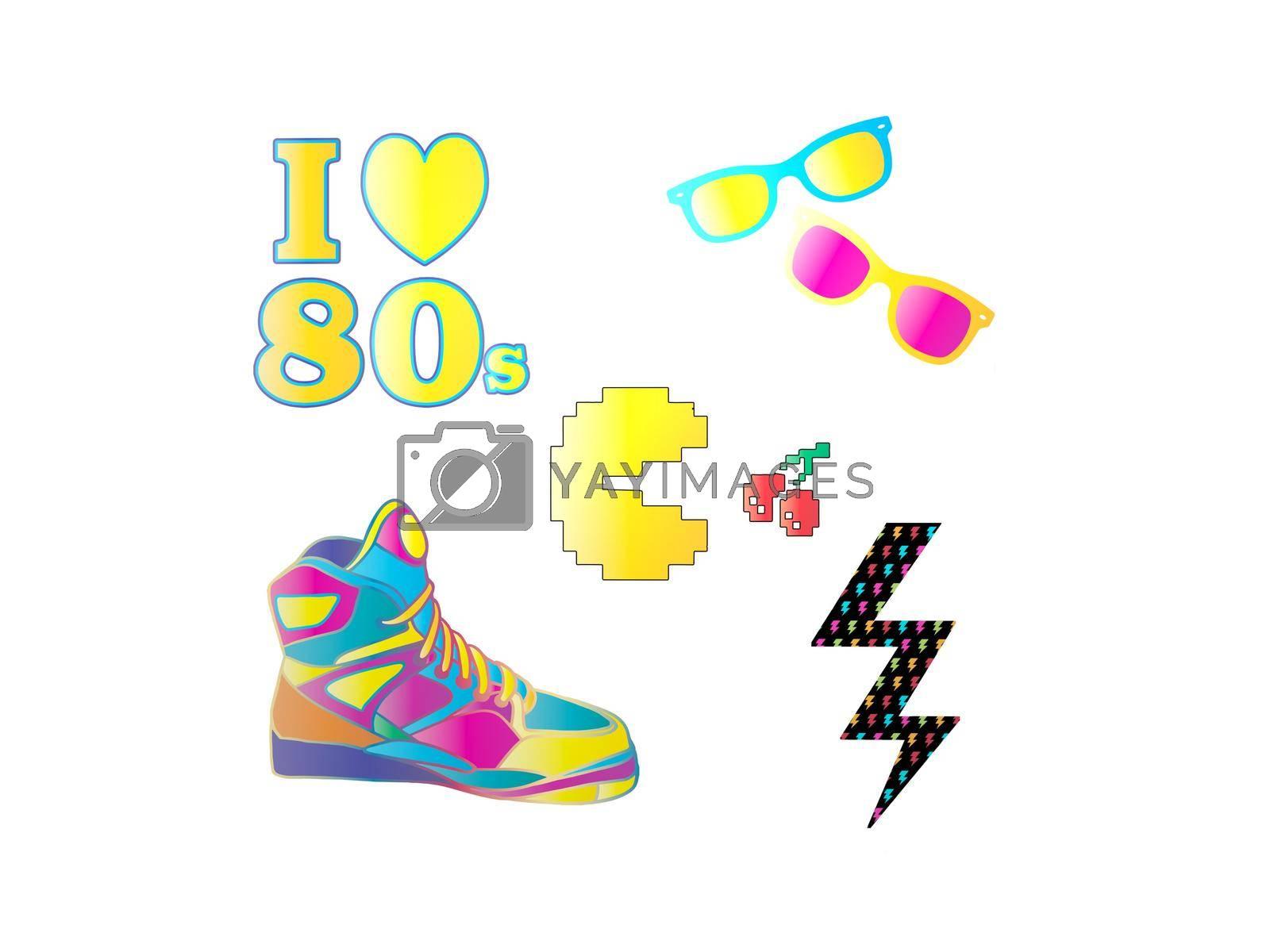 beautiful pink yellow blue 80s logos - 3d rendering