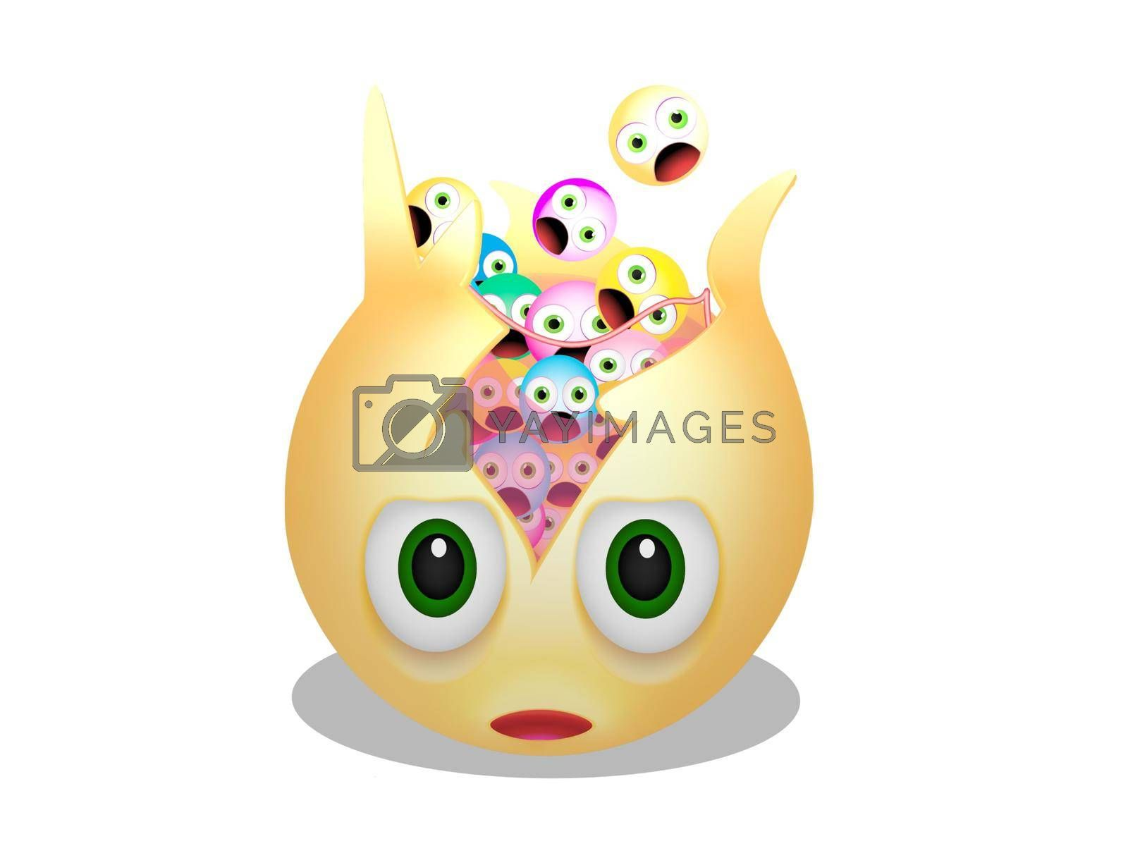 several yellow smiley with expressions on white background - 3d rendering