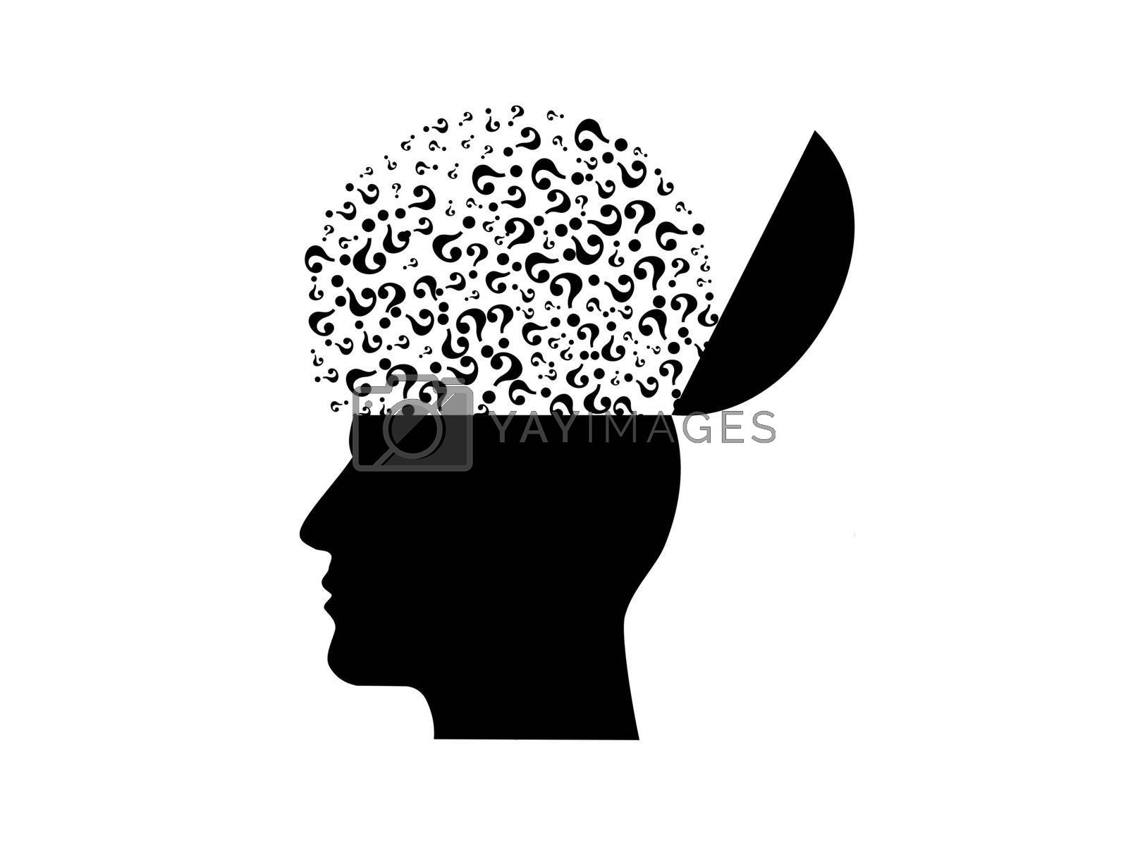 several questions about black the brain on white background - 3d rendering