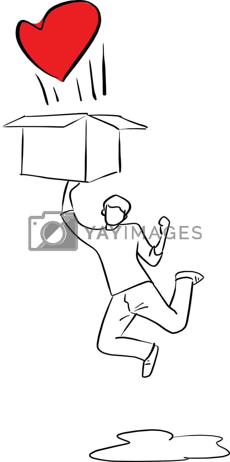 man jumping to the box with red heart vector illustration sketch doodle hand drawn with black lines isolated on white background