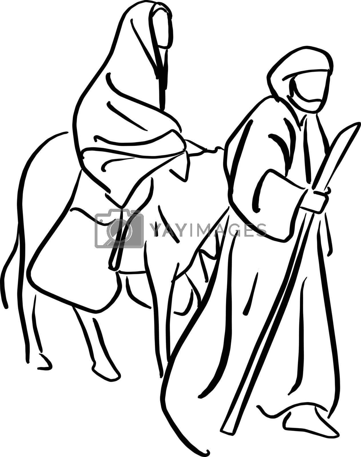 Mary and Joseph in the dessert with a donkey on Christmas Eve searching for a place to stay vector illustration sketch doodle hand drawn with black lines isolated on white background