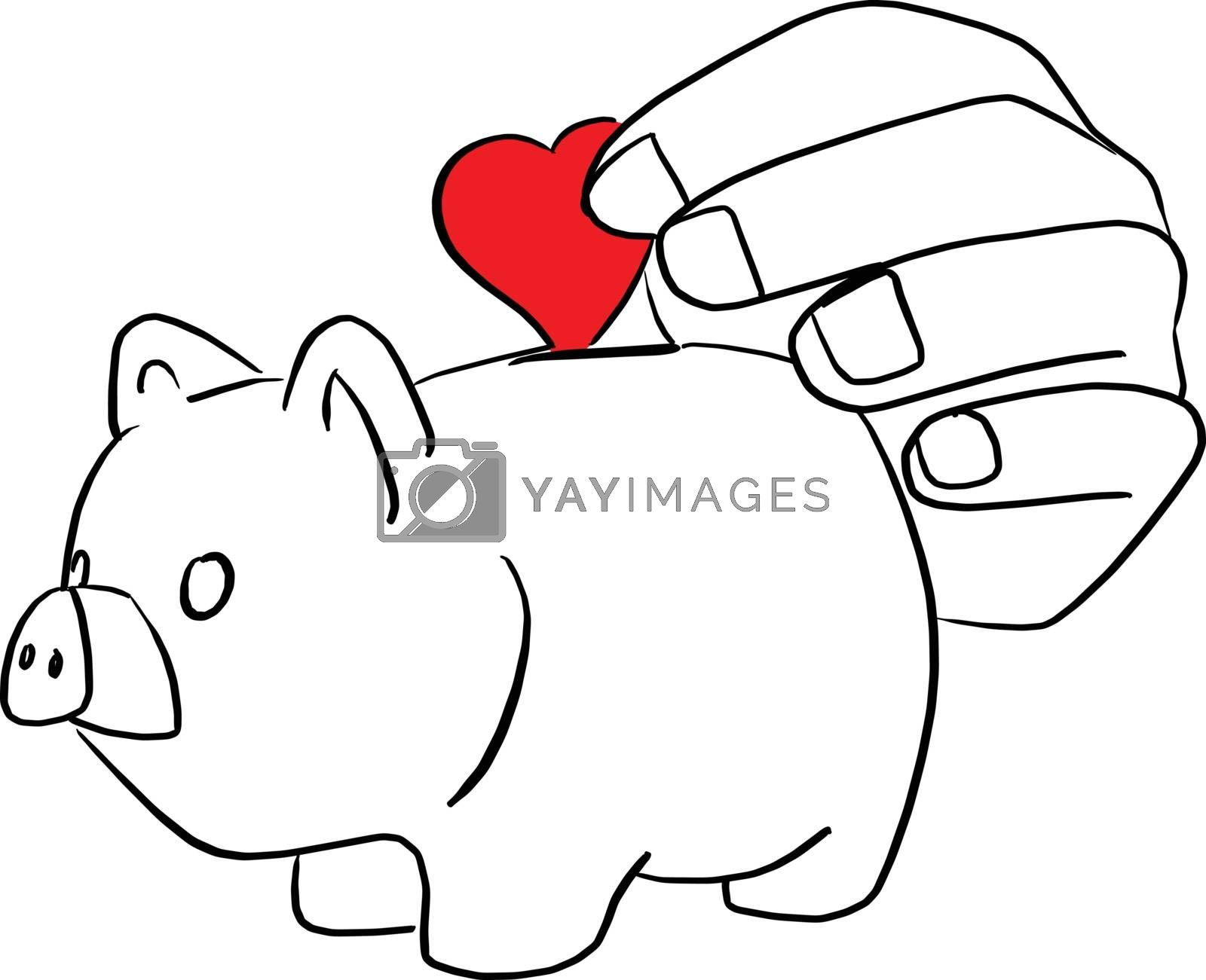 close-up hand putting red heart in piggy bank vector illustration sketch doodle hand drawn with black lines isolated on white background. love charity and relief work.